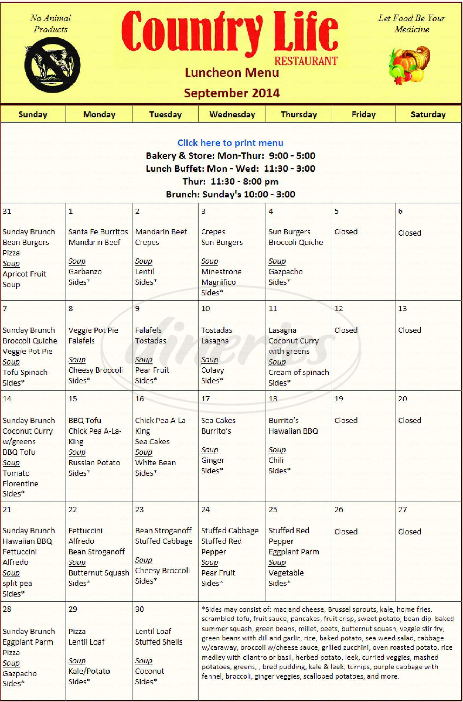 menu for Country Life Vegetarian Restaurant & Natural Foods