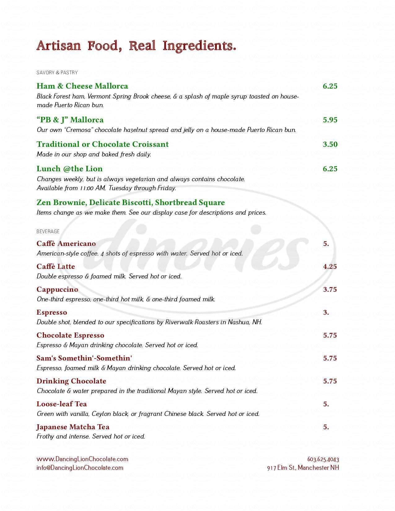 menu for Dancing Lion Chocolate