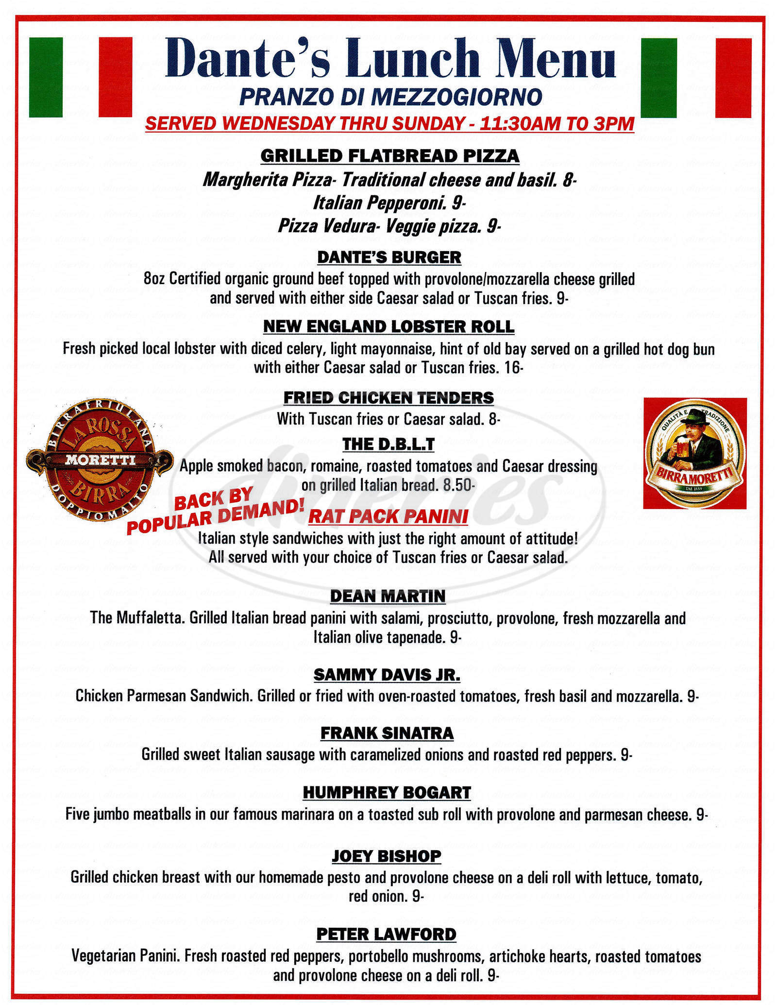 menu for Dante's Pasta & Vino