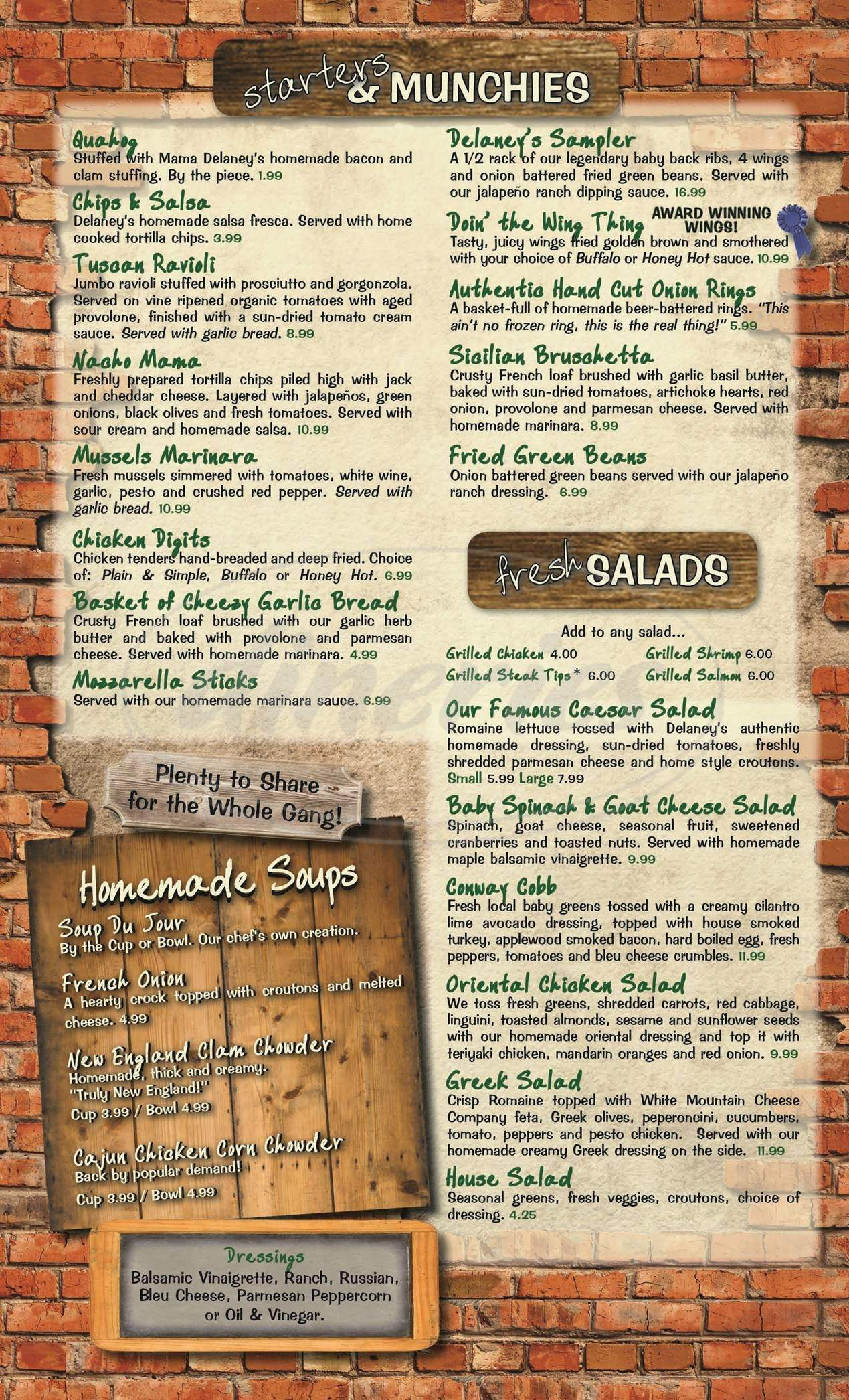 menu for Delaney's Hole In the Wall