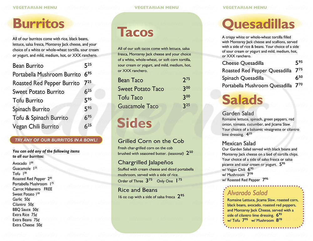 menu for Dos Amigos Burrtios