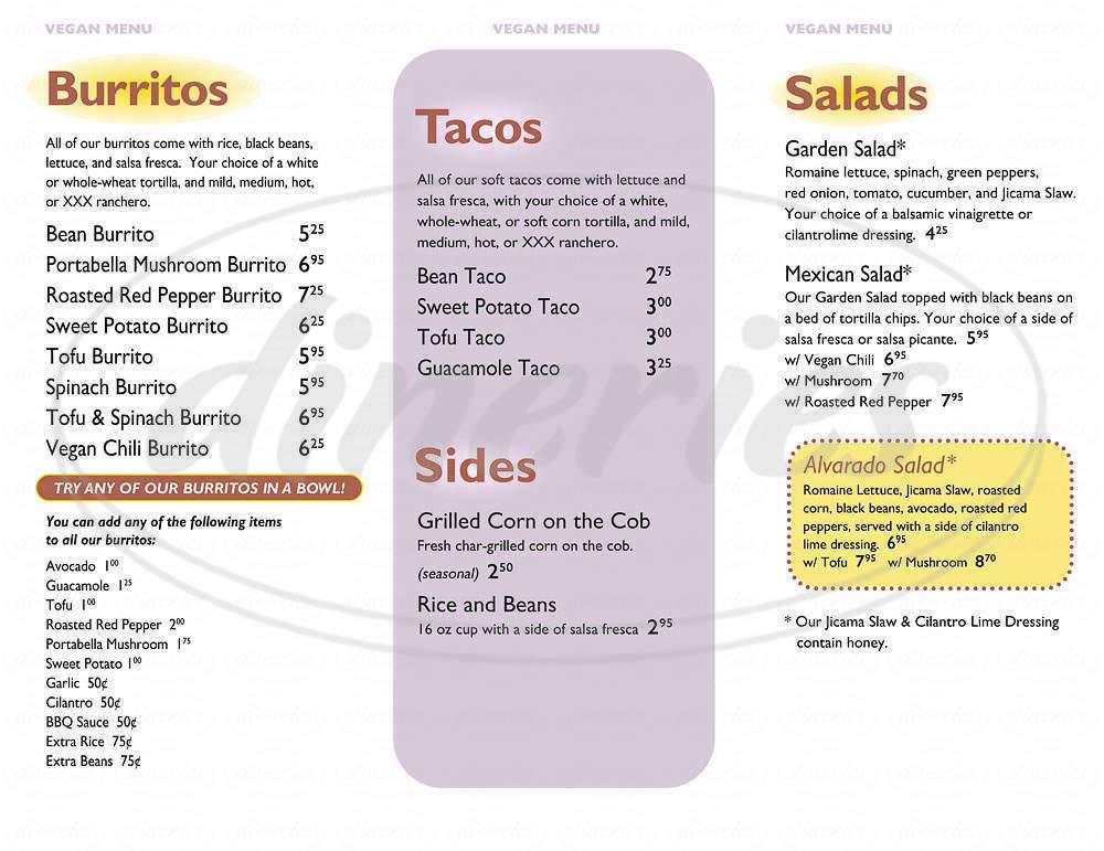 menu for Dos Amigos Burrtios