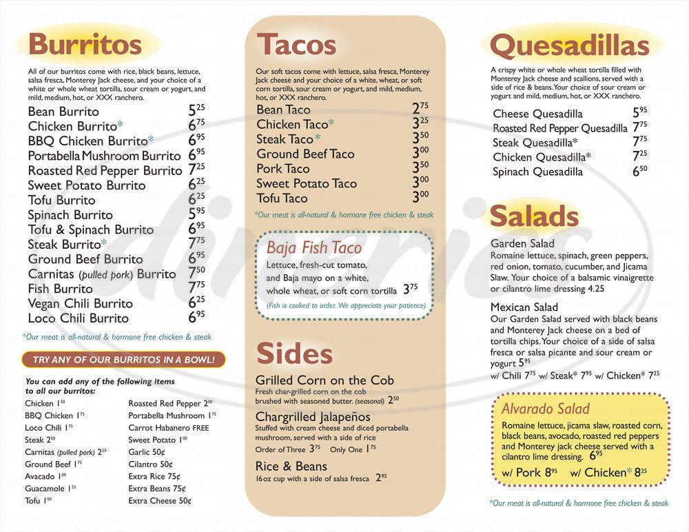 menu for Dos Amigos Burritos