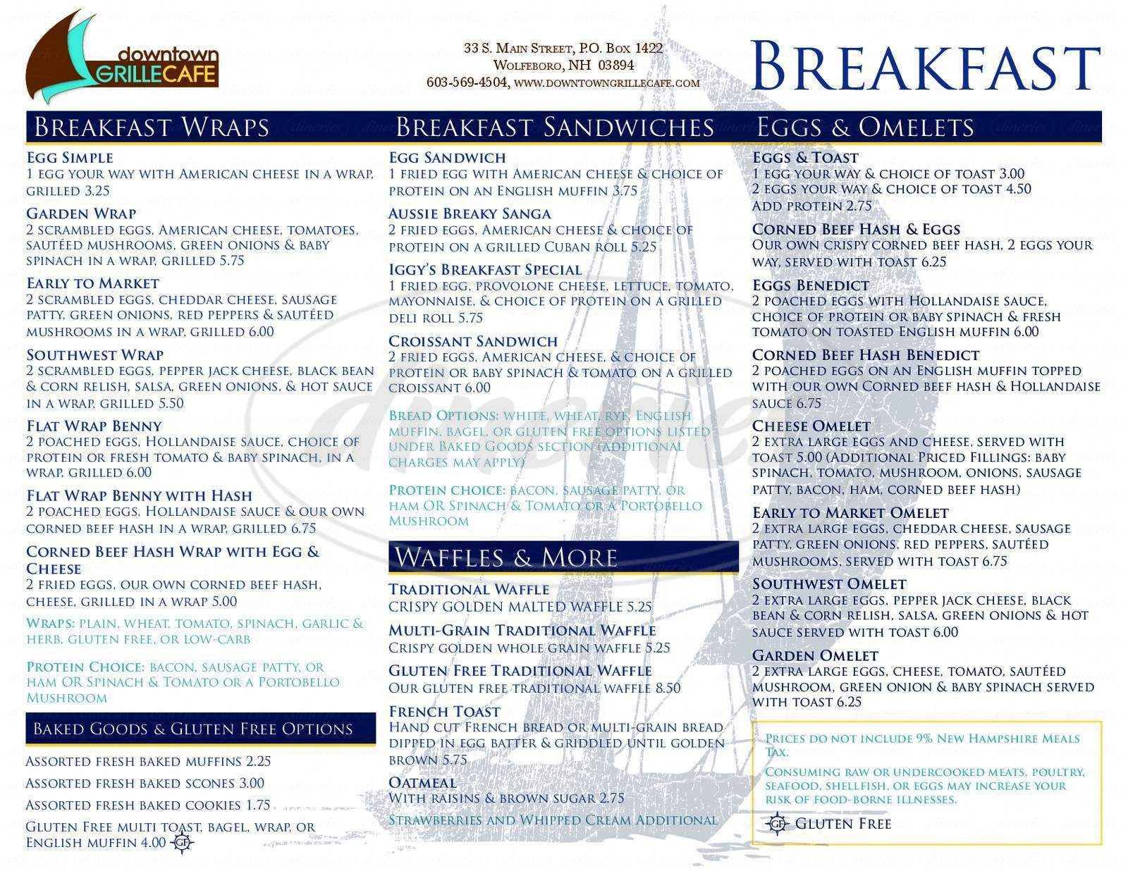 menu for Downtown Grille Cafe