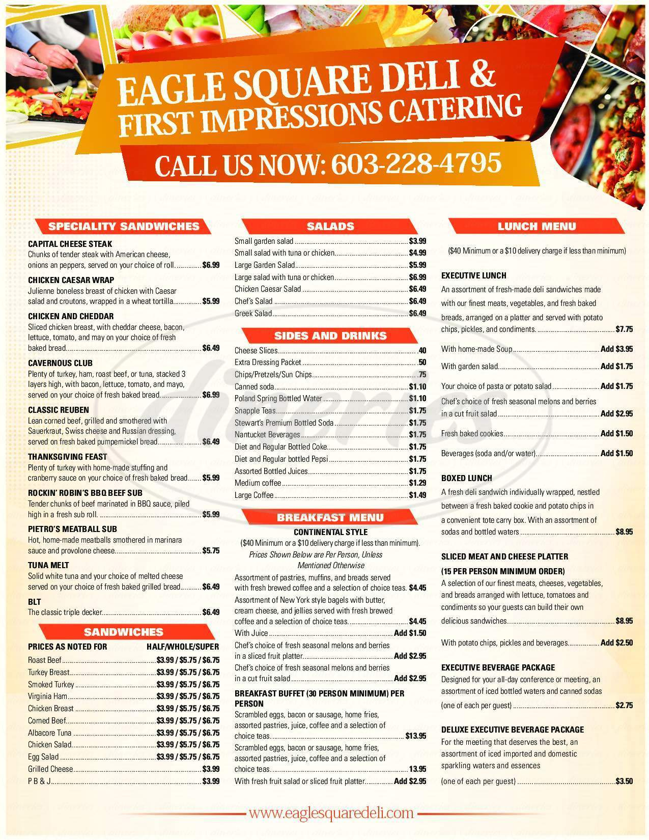 menu for Eagle Square Deli & First Impressions Catering