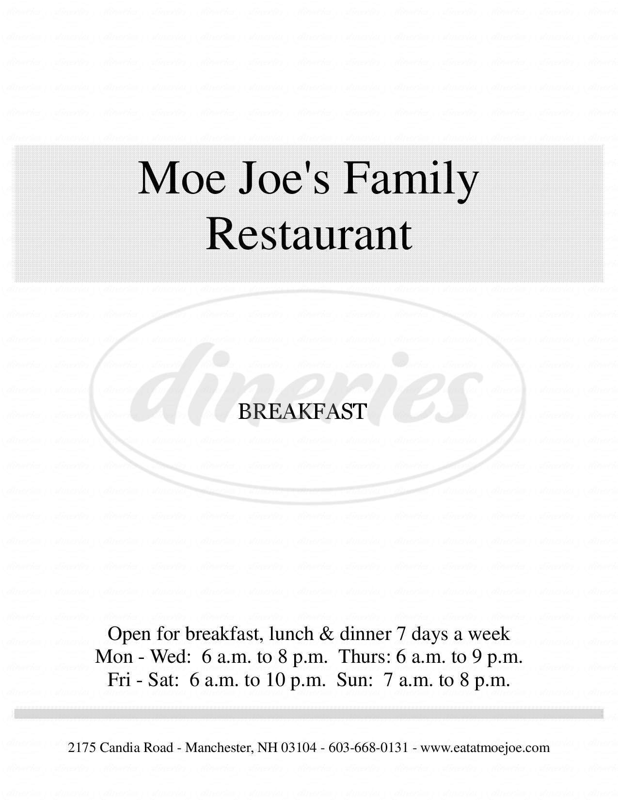 menu for Moe Joe Country Diner