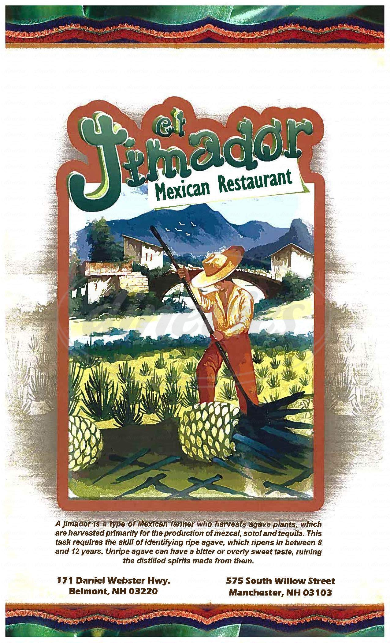 menu for El Jimador