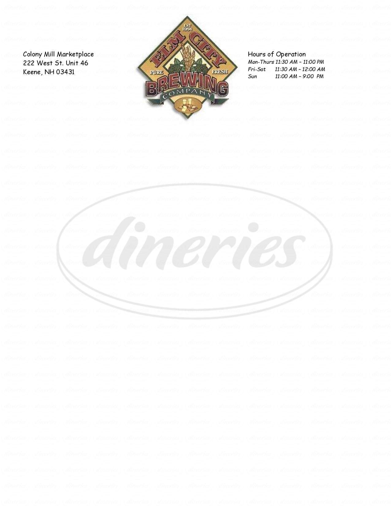 menu for Elm City Brewing Company