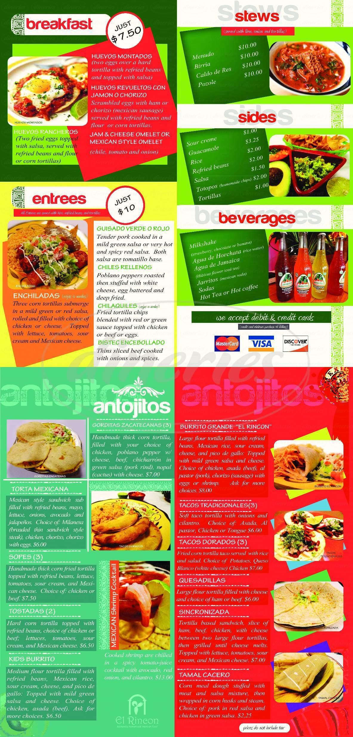 menu for El Rincon Zacatecano Taqueria