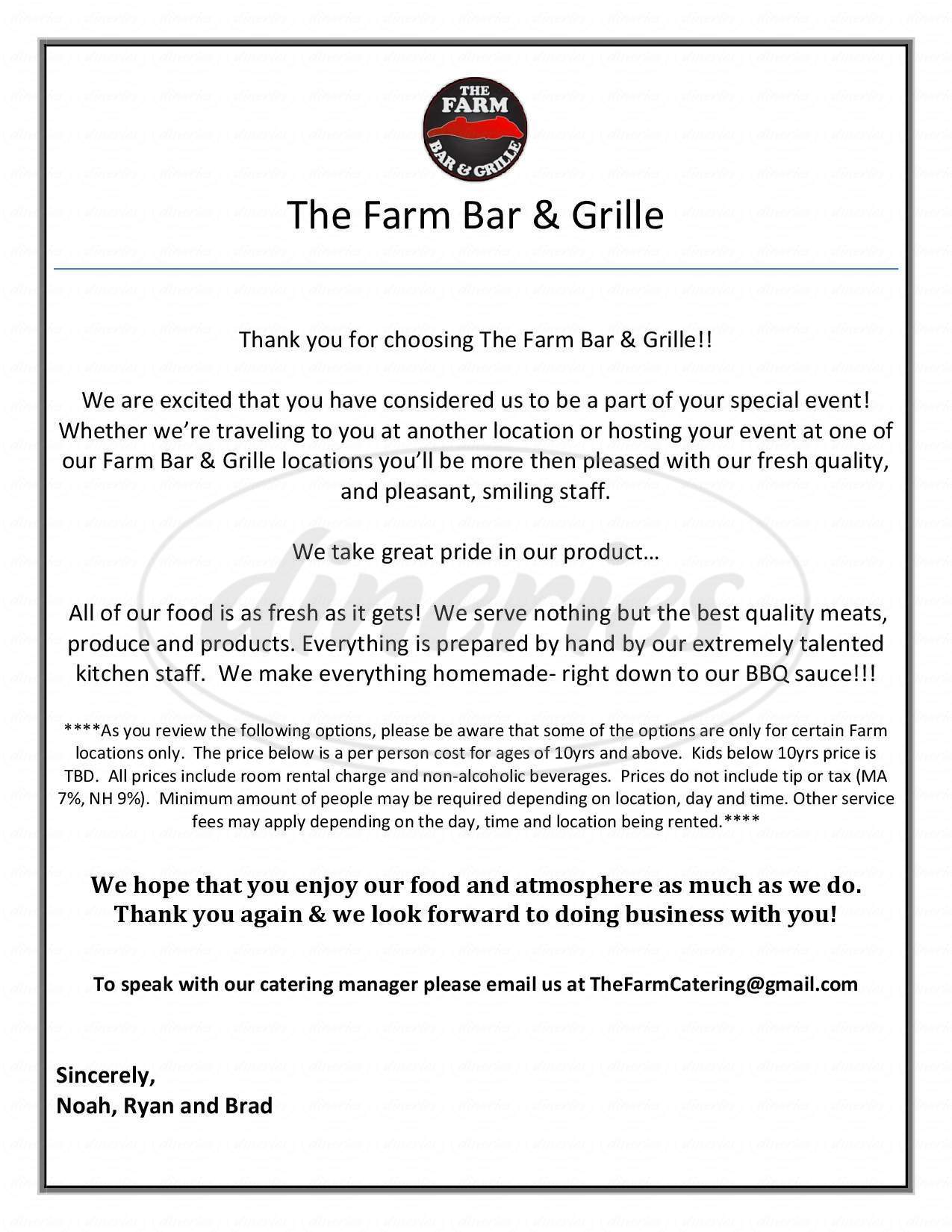 menu for The Farm Bar & Grille