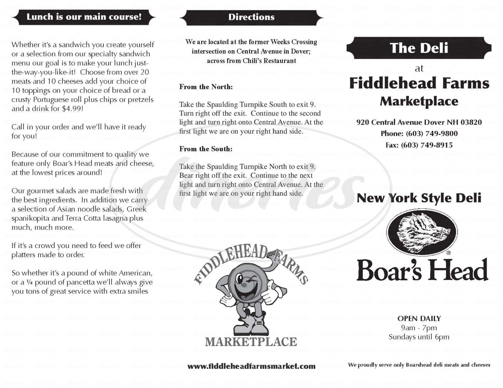 menu for Fiddlehead Farms Marketplace