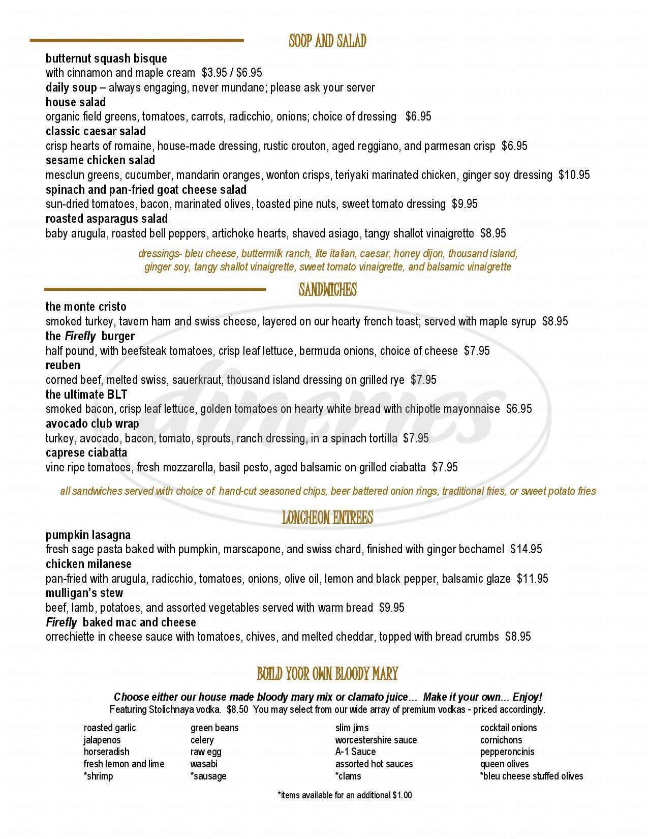 menu for Firefly American Bistro