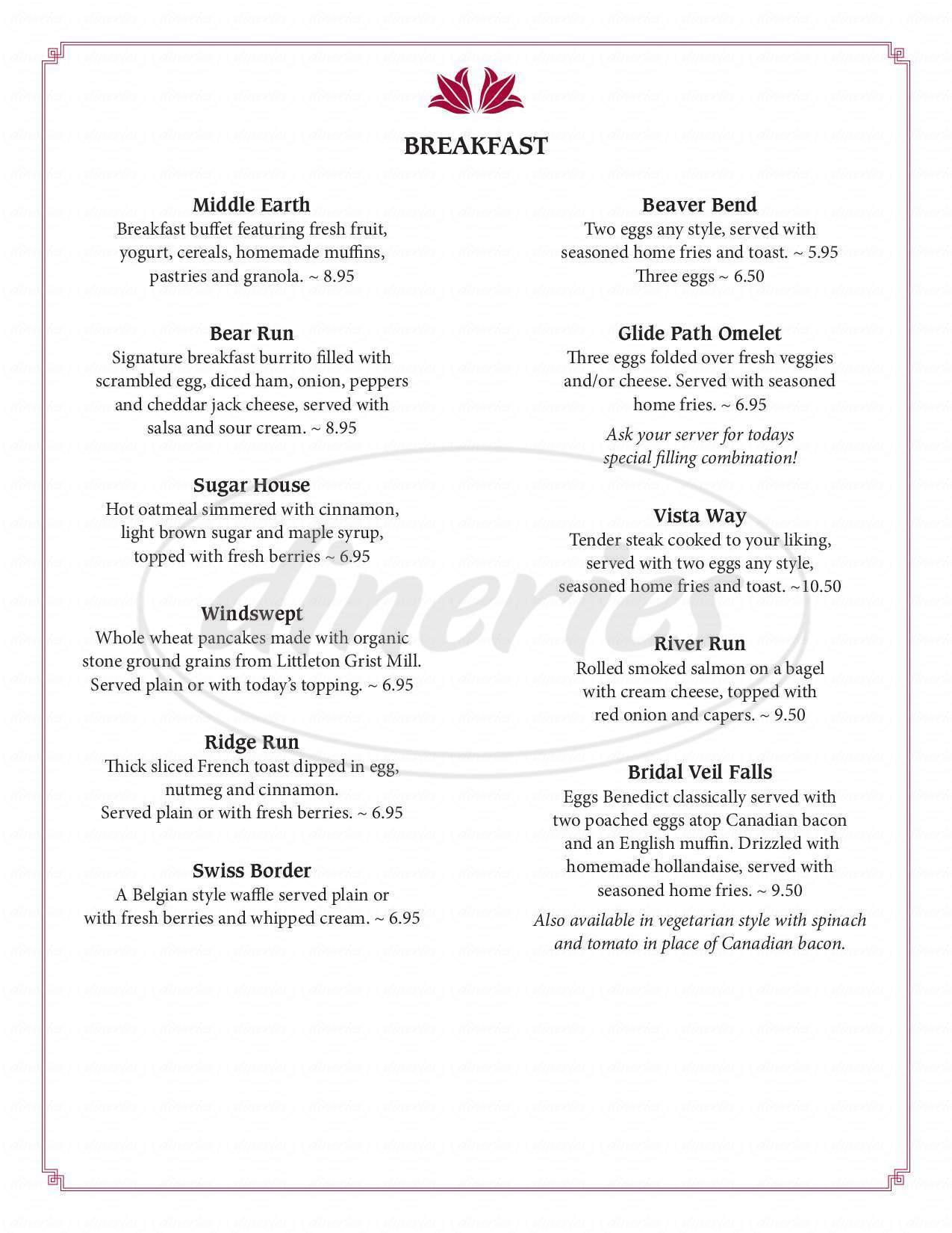 menu for Franconia Inn