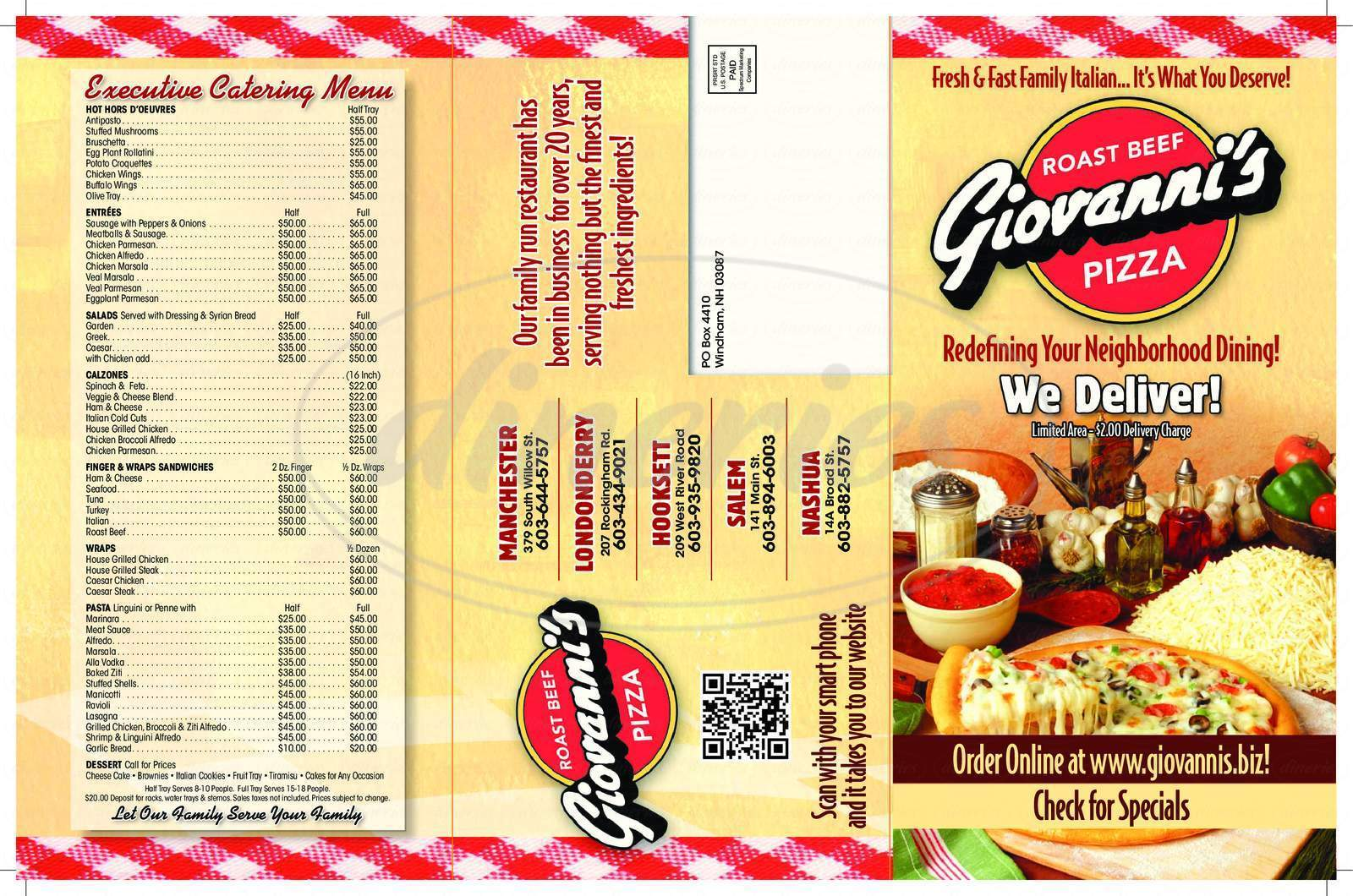 menu for Giovannis Roast Beef & Pizza