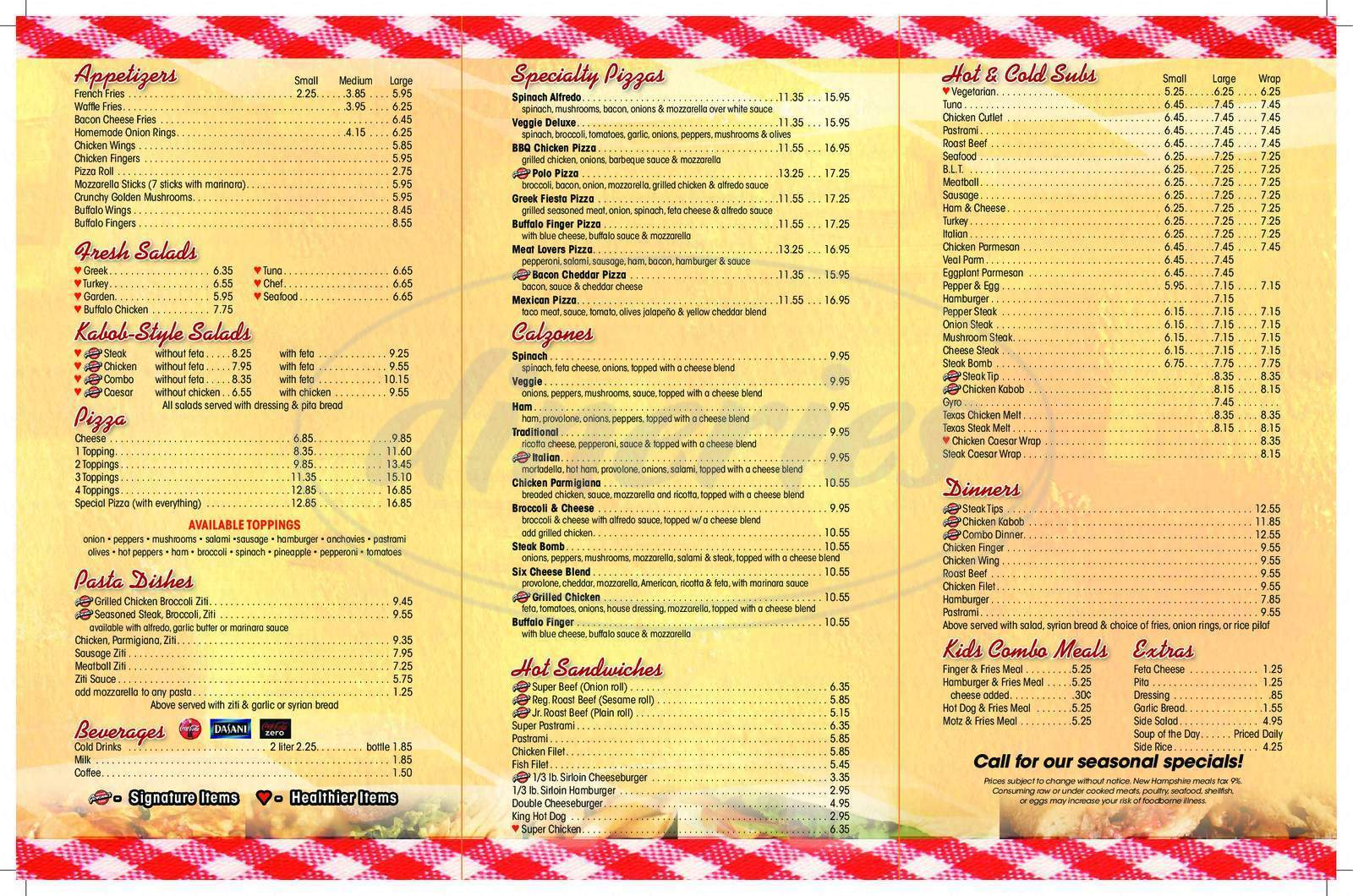menu for Giovanni's Roast Beef and Pizzeria