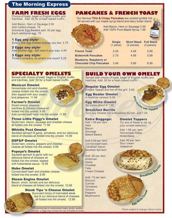 menu for Glen Junction
