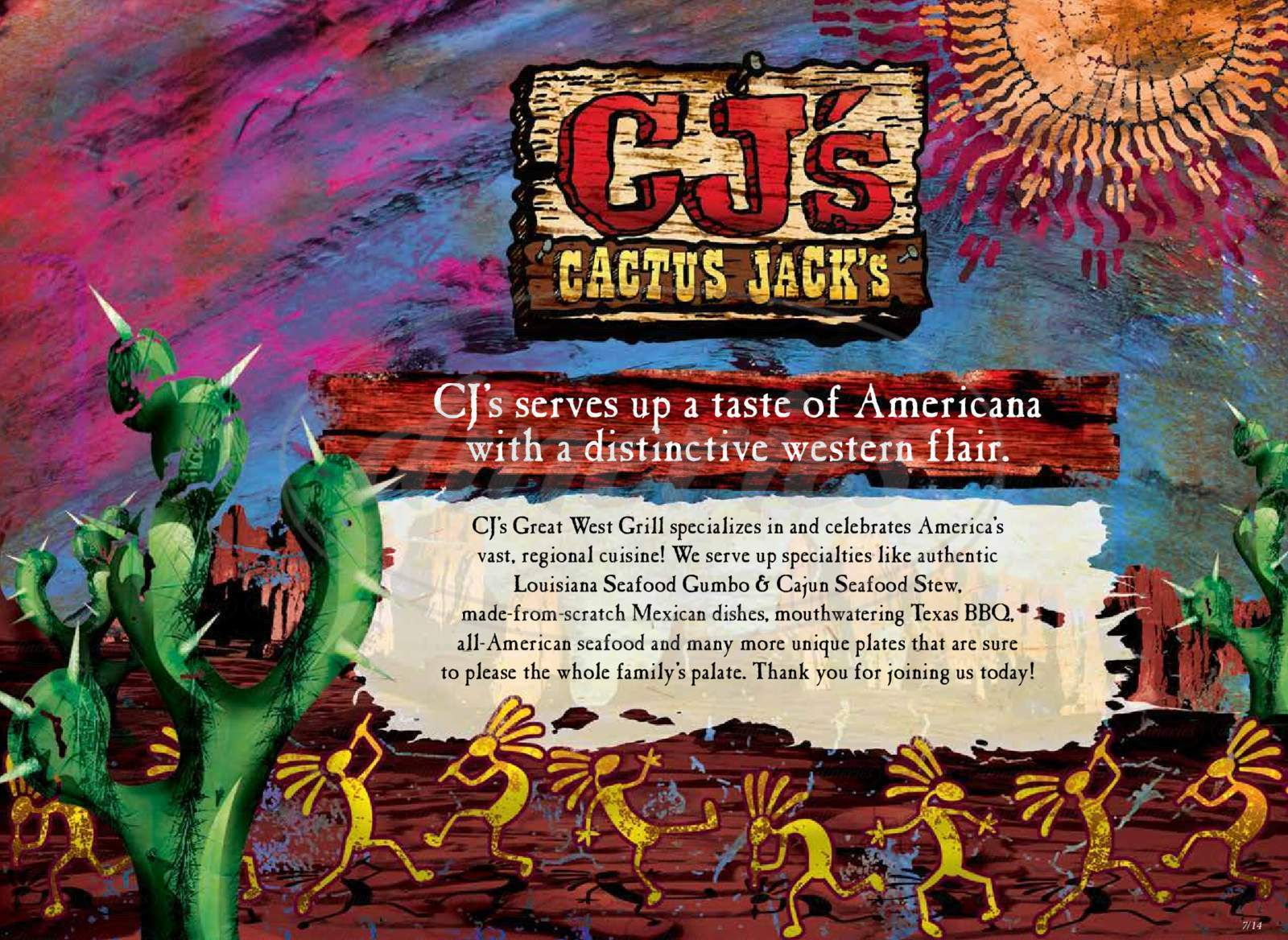menu for Cactus Jack's