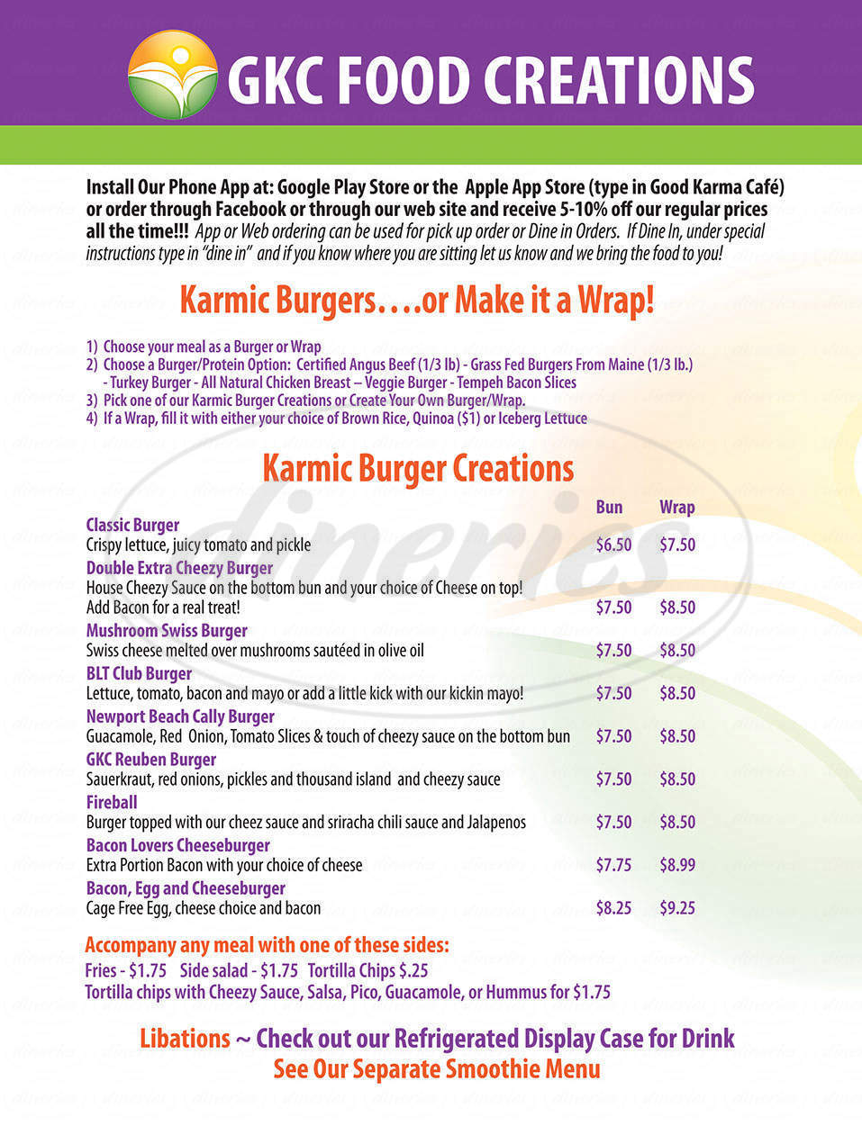 menu for Good Karma Cafe