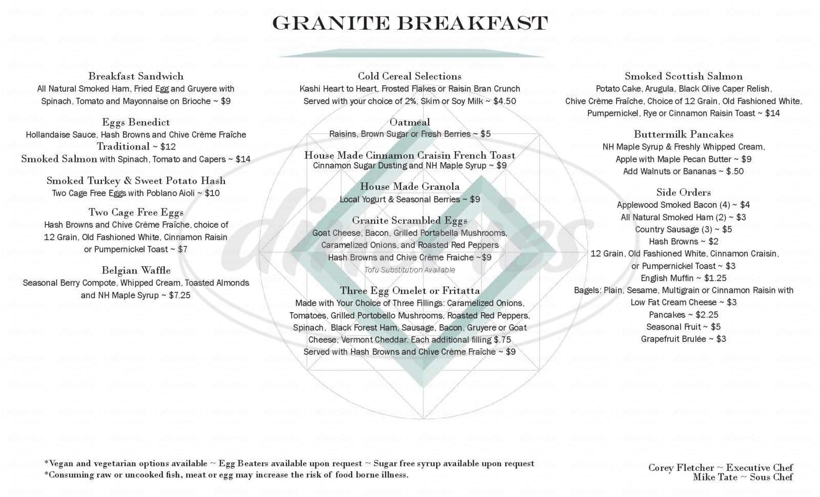 menu for The Granite Restaurant & Bar