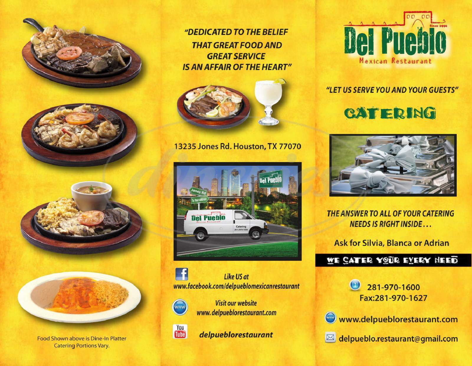 menu for Del Pueblo Mexican Restaurant