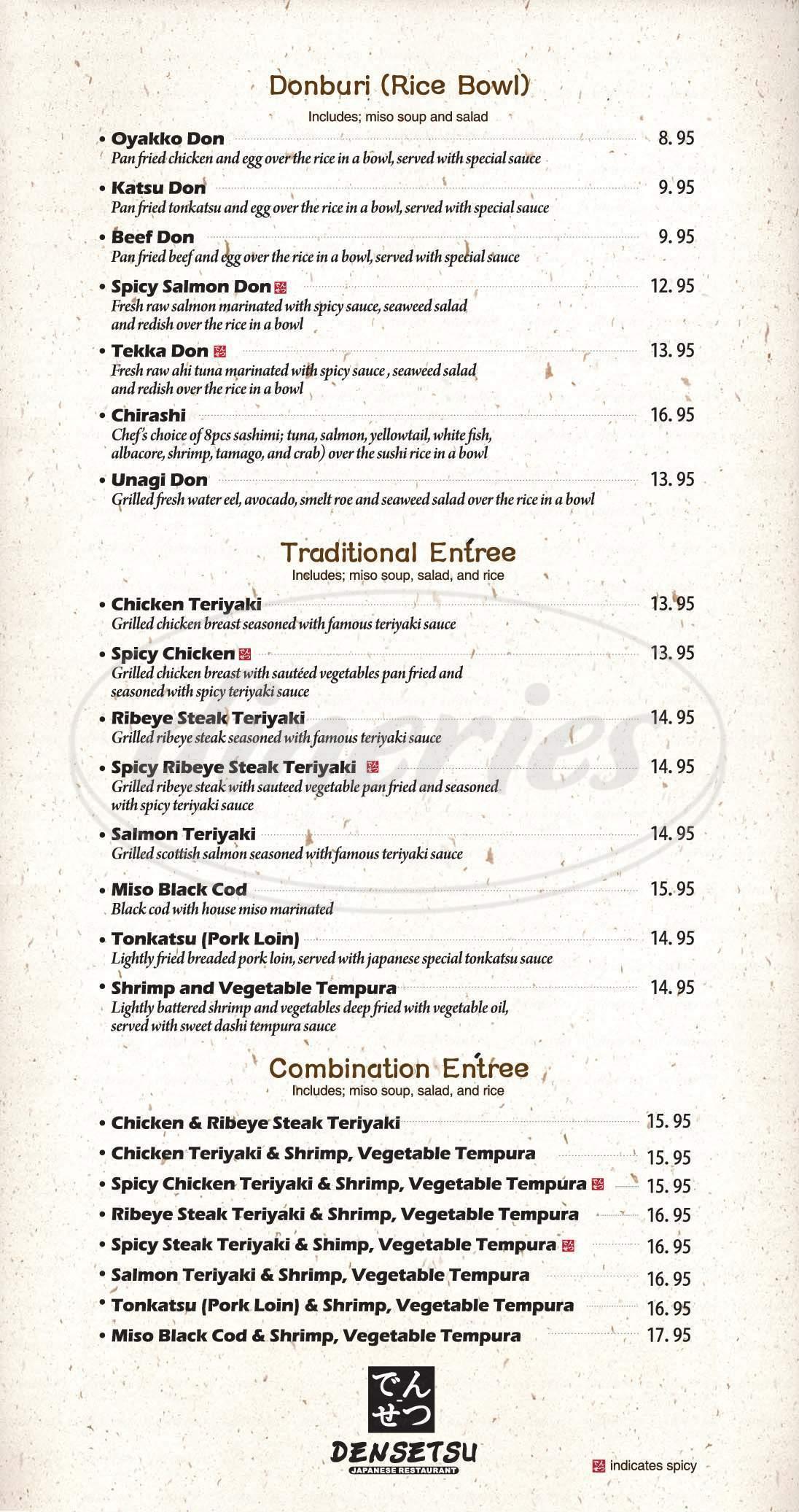 menu for Densetsu