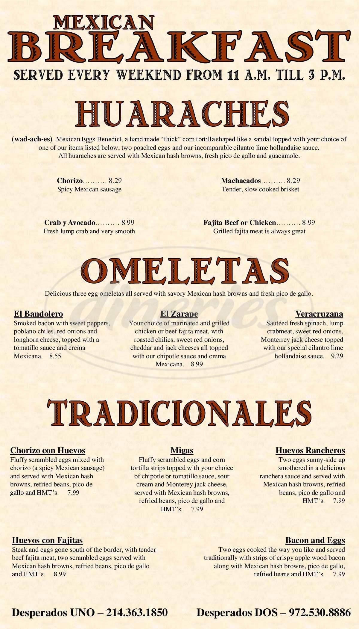 menu for Desperados