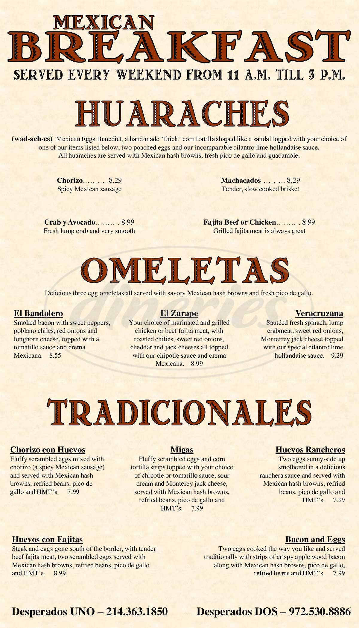 menu for Desperados Mexican Restaurant