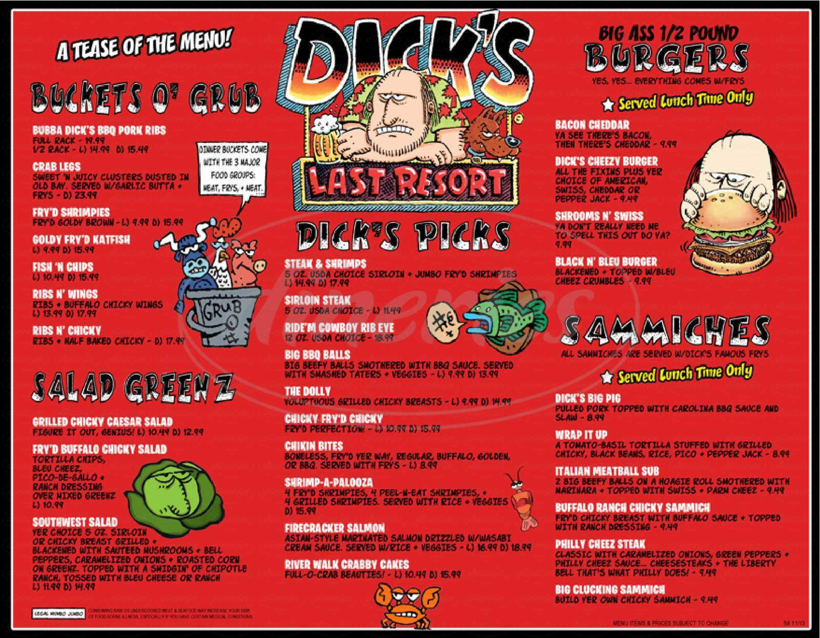 menu for Dick's Last Resort