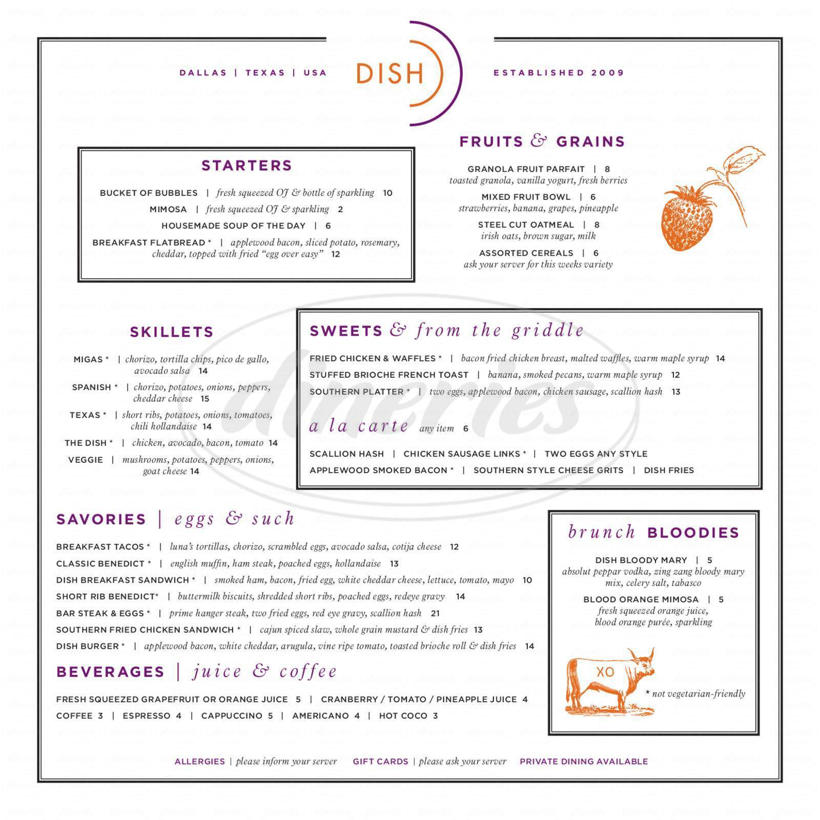 menu for Dish Restaurant