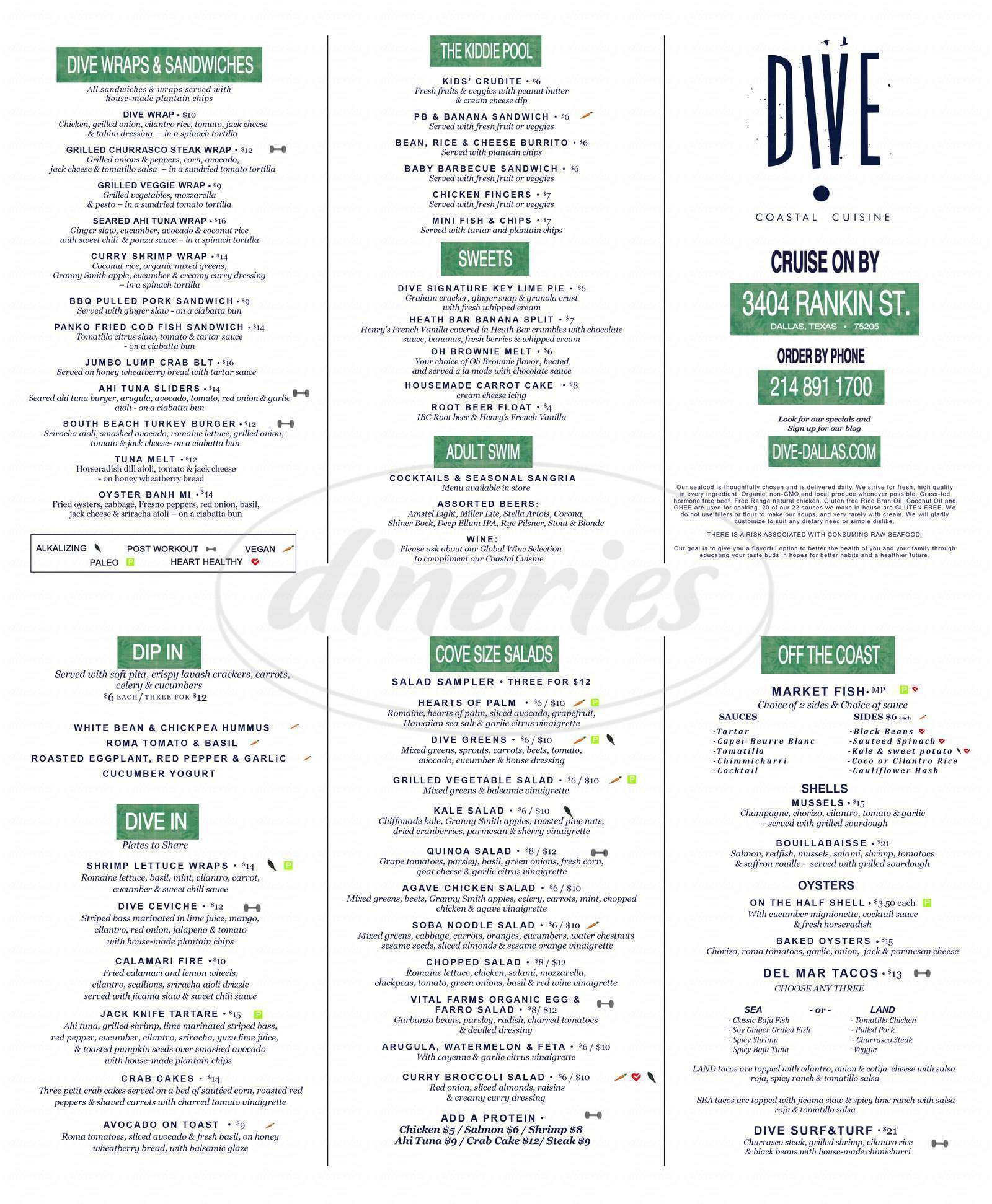 menu for Dive Coastal Cuisine