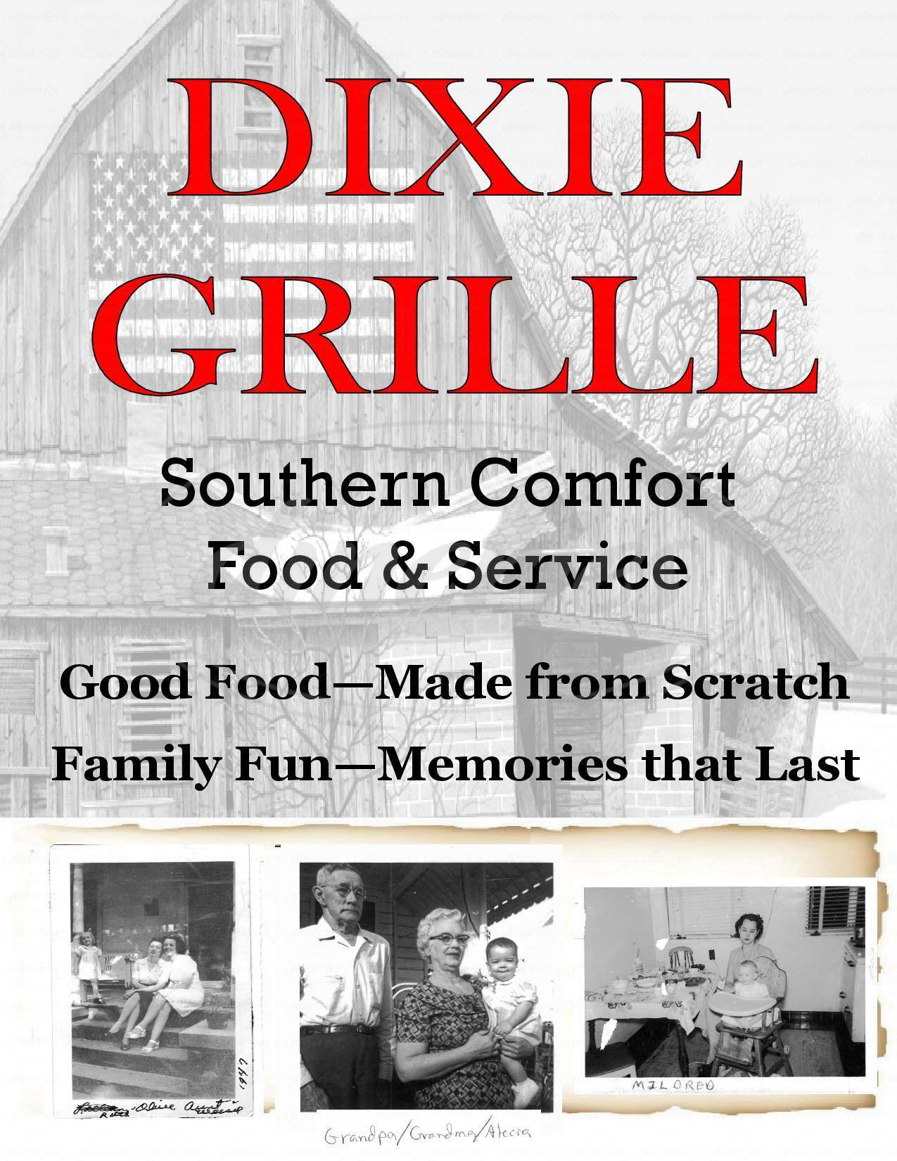 menu for Dixie Grille