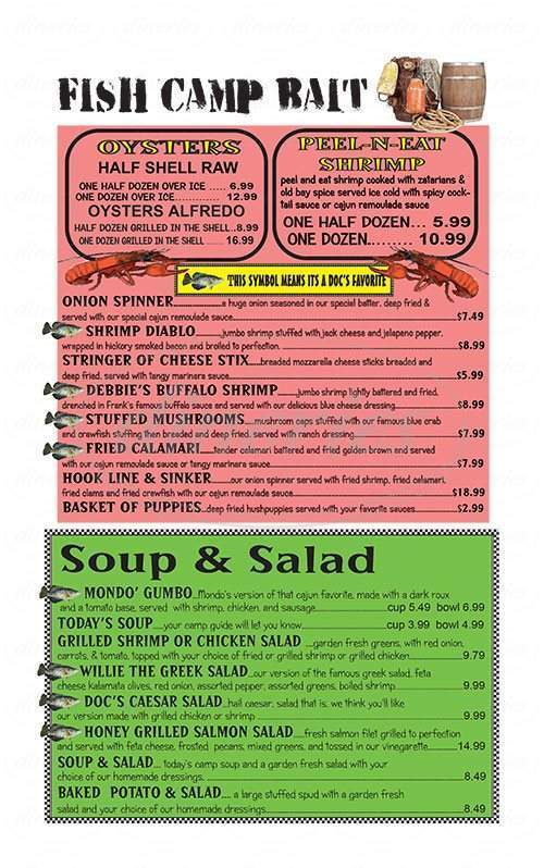 menu for Doc's Fish Camp and Grill