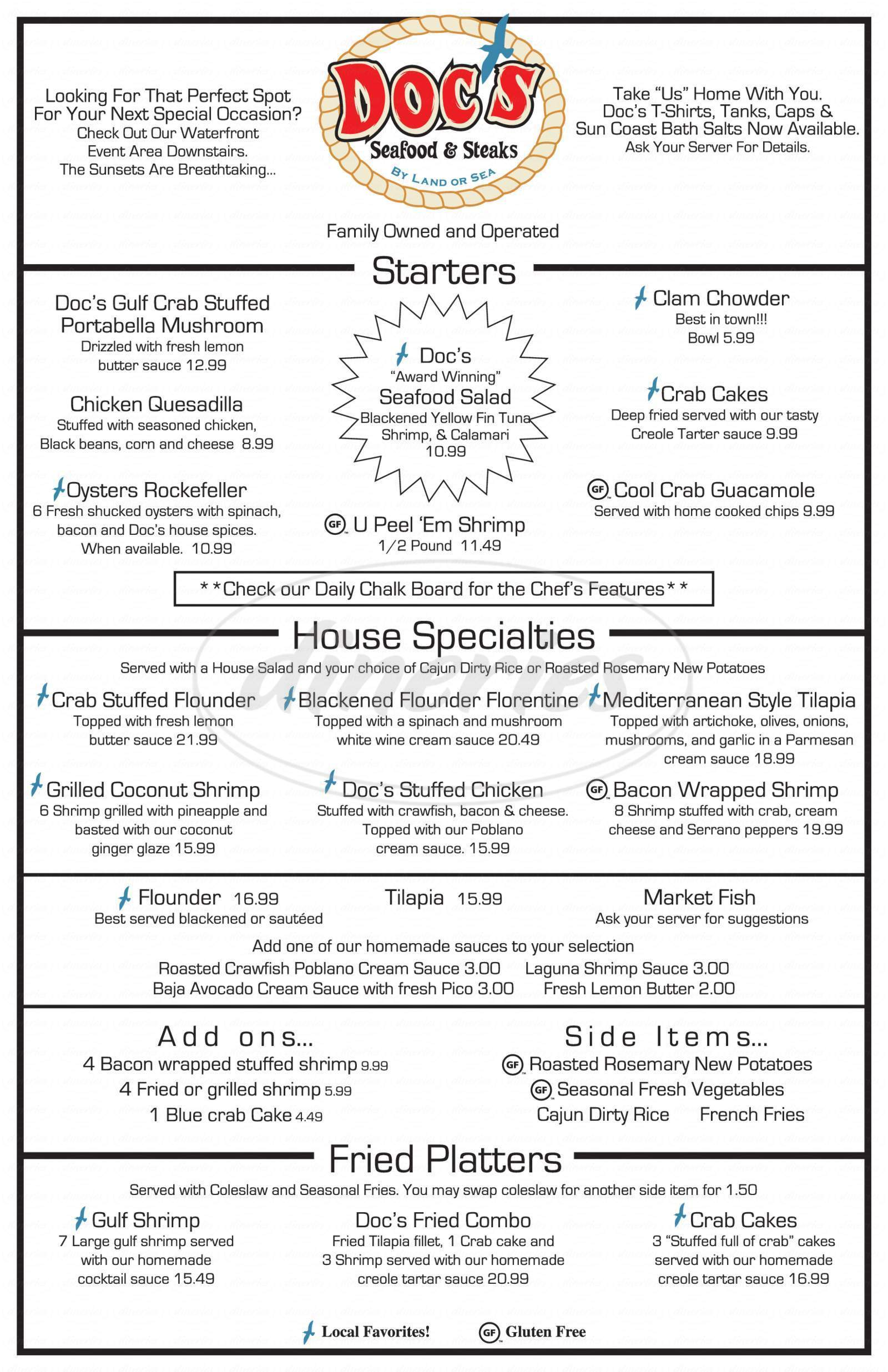 menu for Doc's Seafood & Steaks