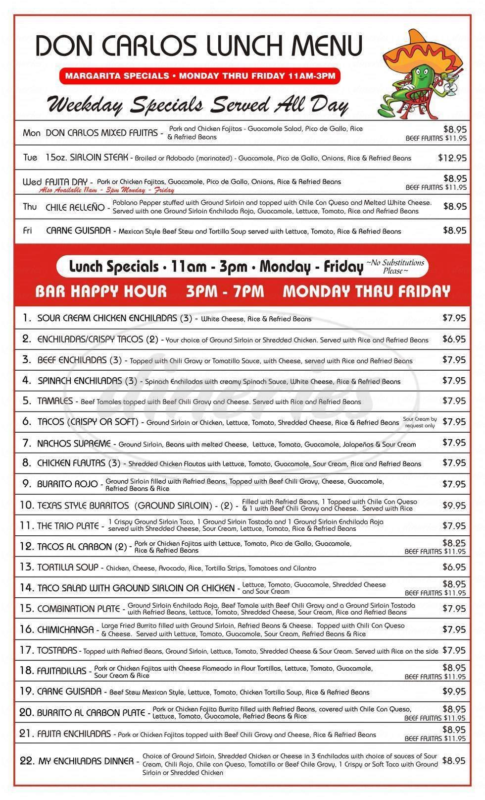 menu for Don Carlo's Restaurant