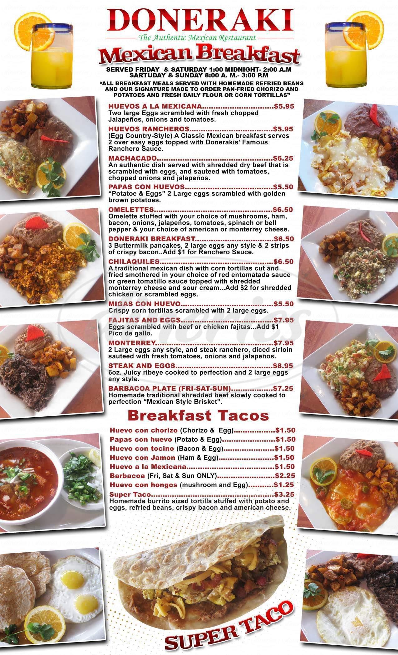 menu for Doneraki Restaurant