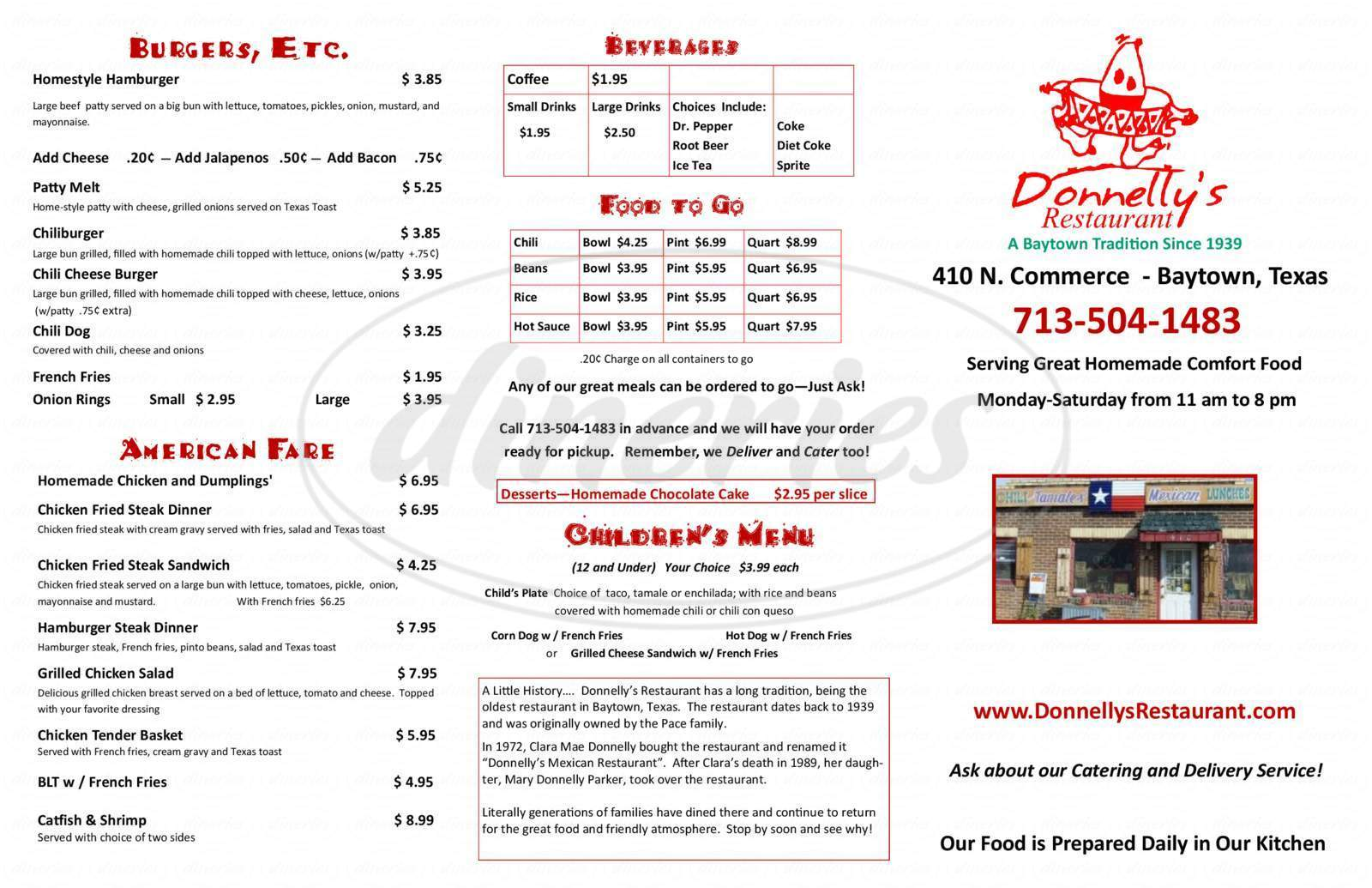 menu for Donnelly's Mexican Restaurant