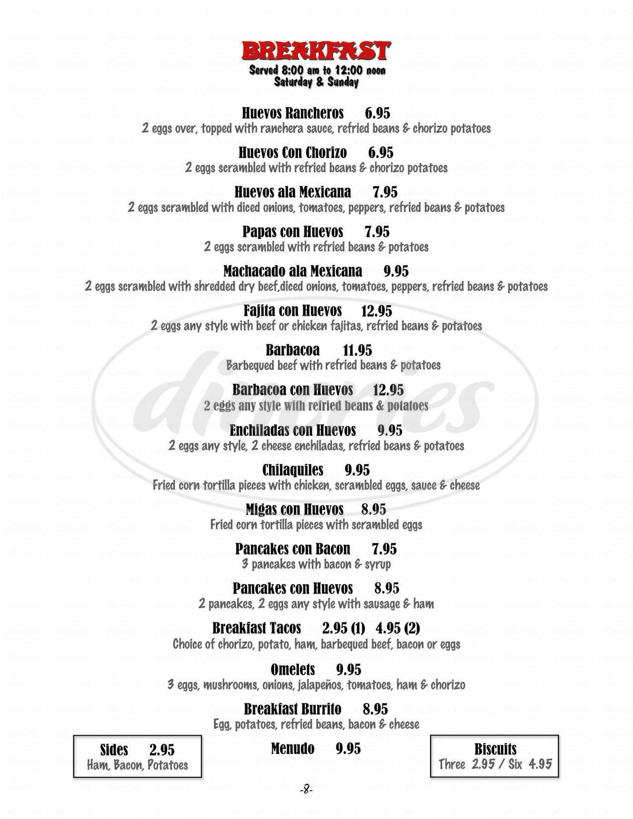 menu for Don Ramon's Fine Mexican Restaurant & Bar