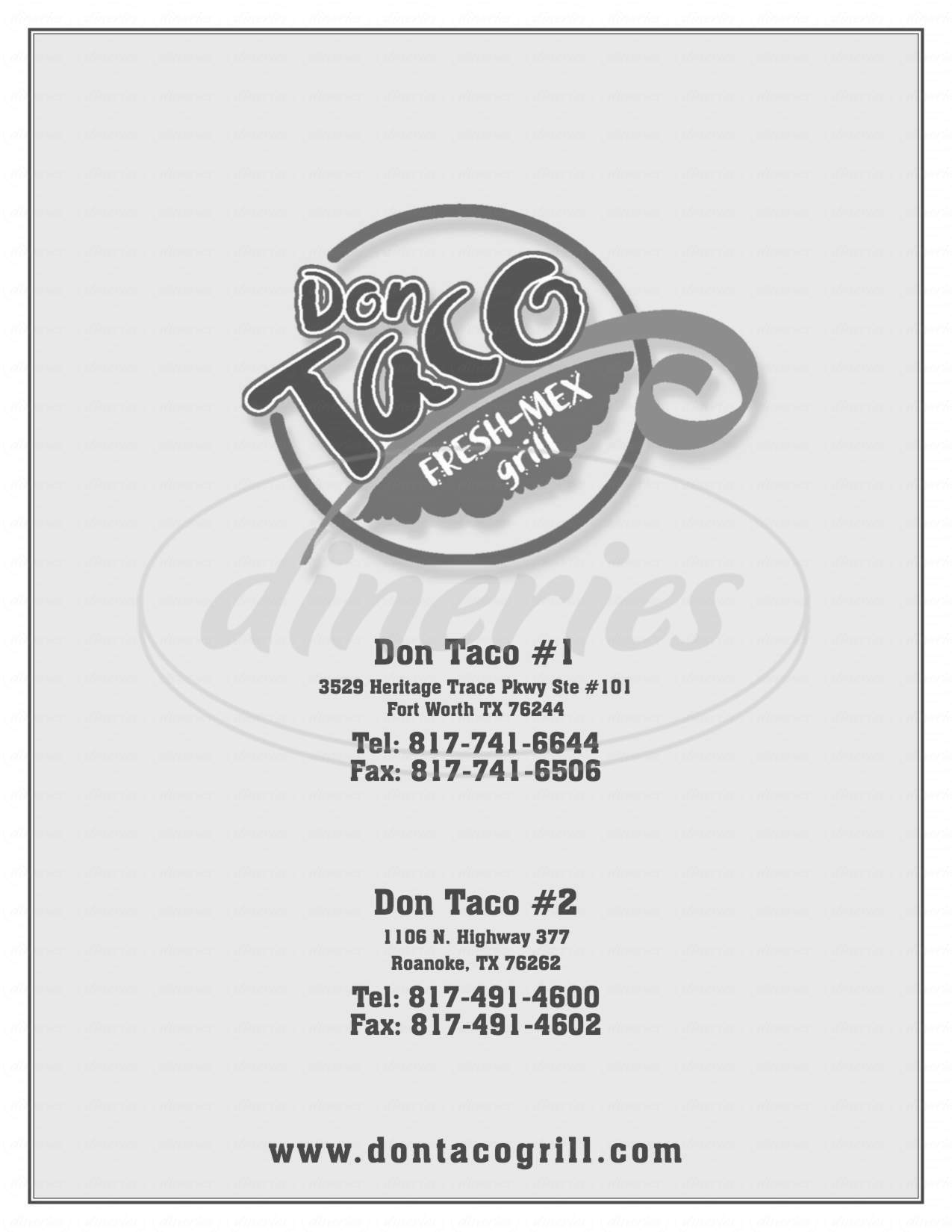 menu for Don Taco