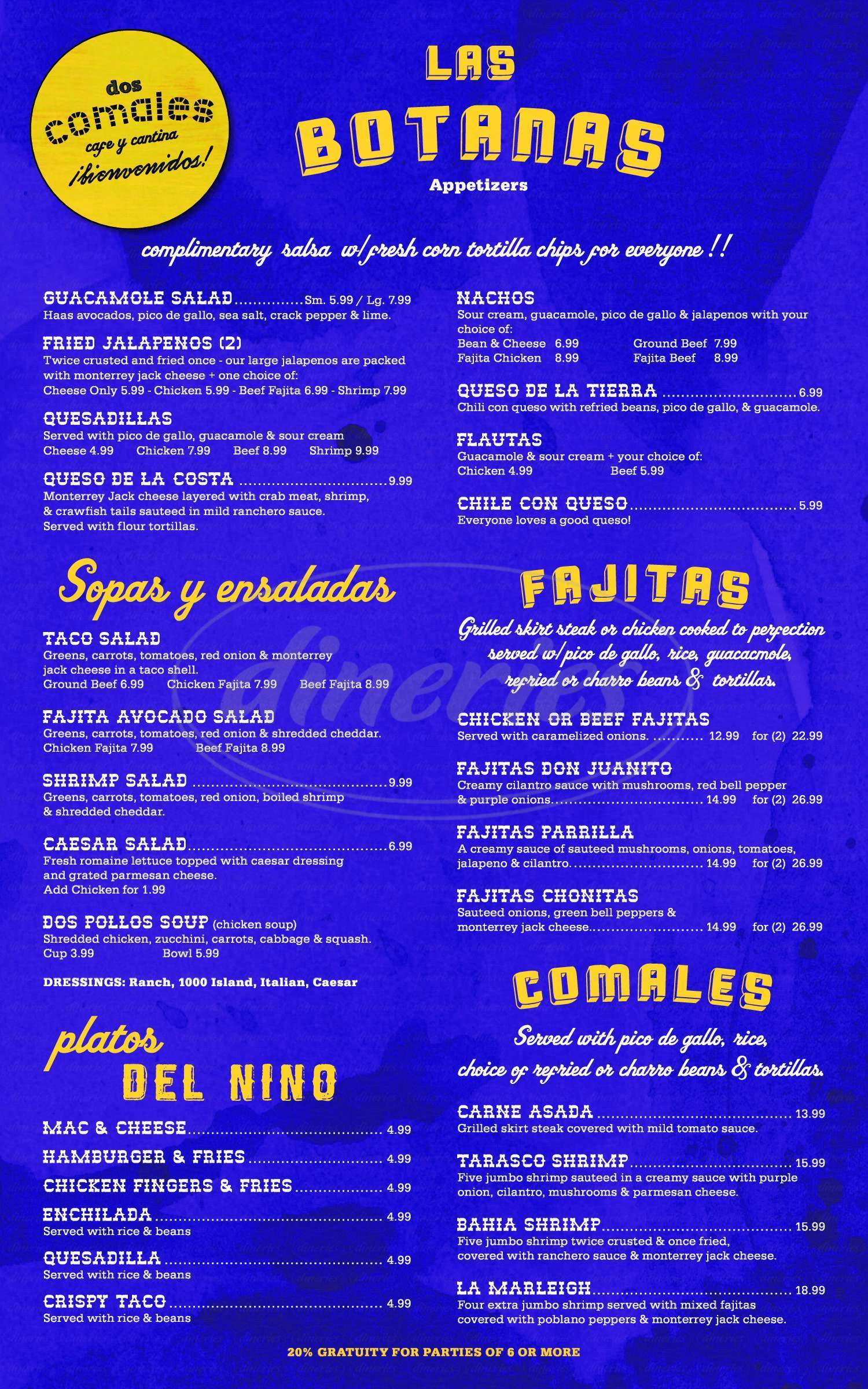 menu for Dos Comales
