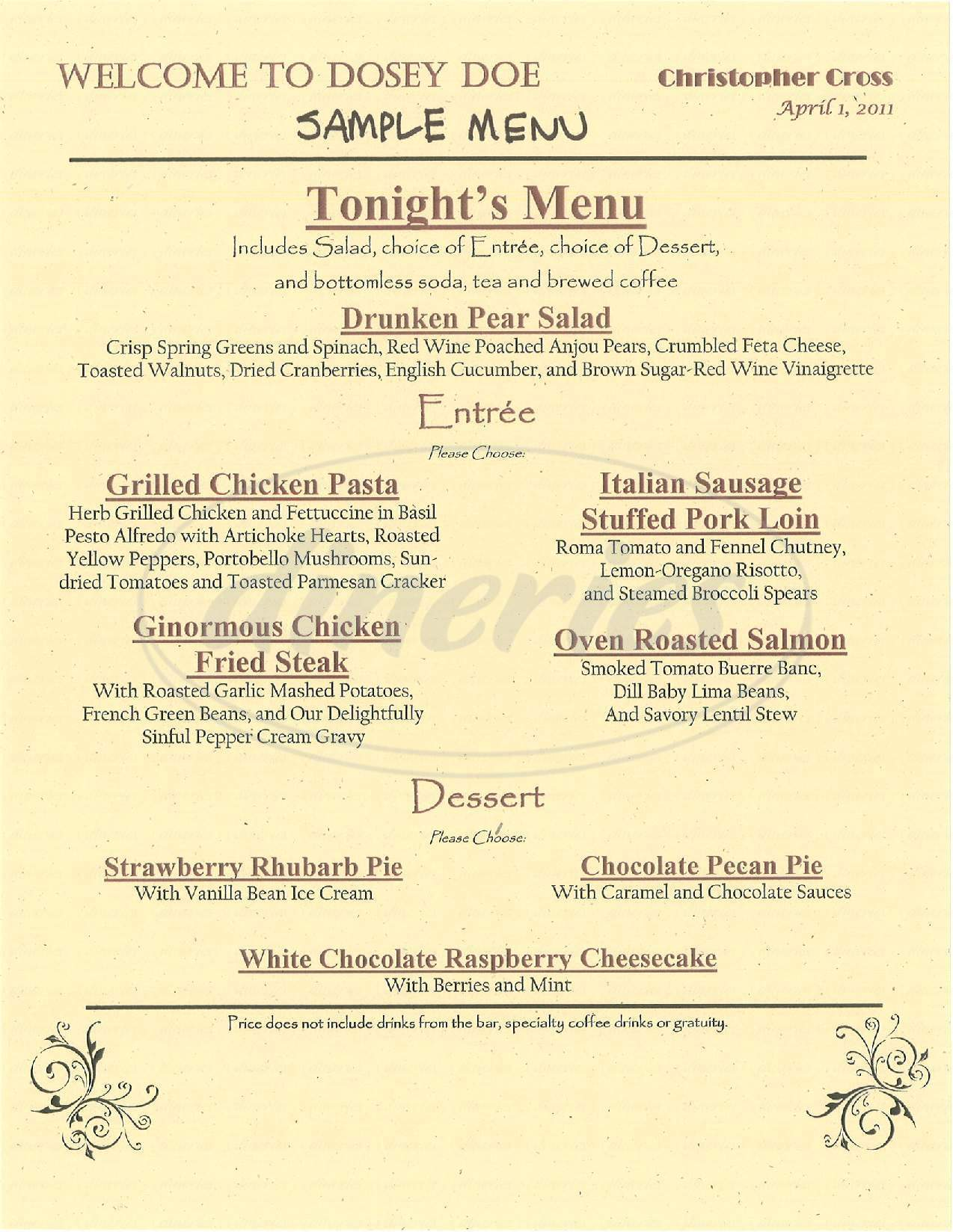 menu for Dosey Doe