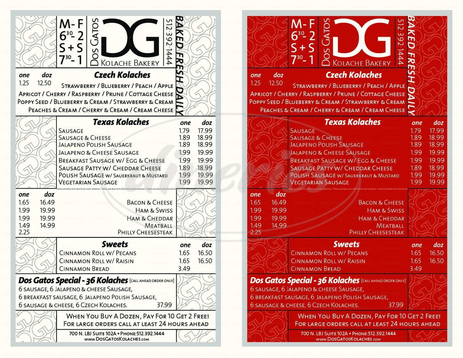 menu for Dos Gatos Kolache Bakery