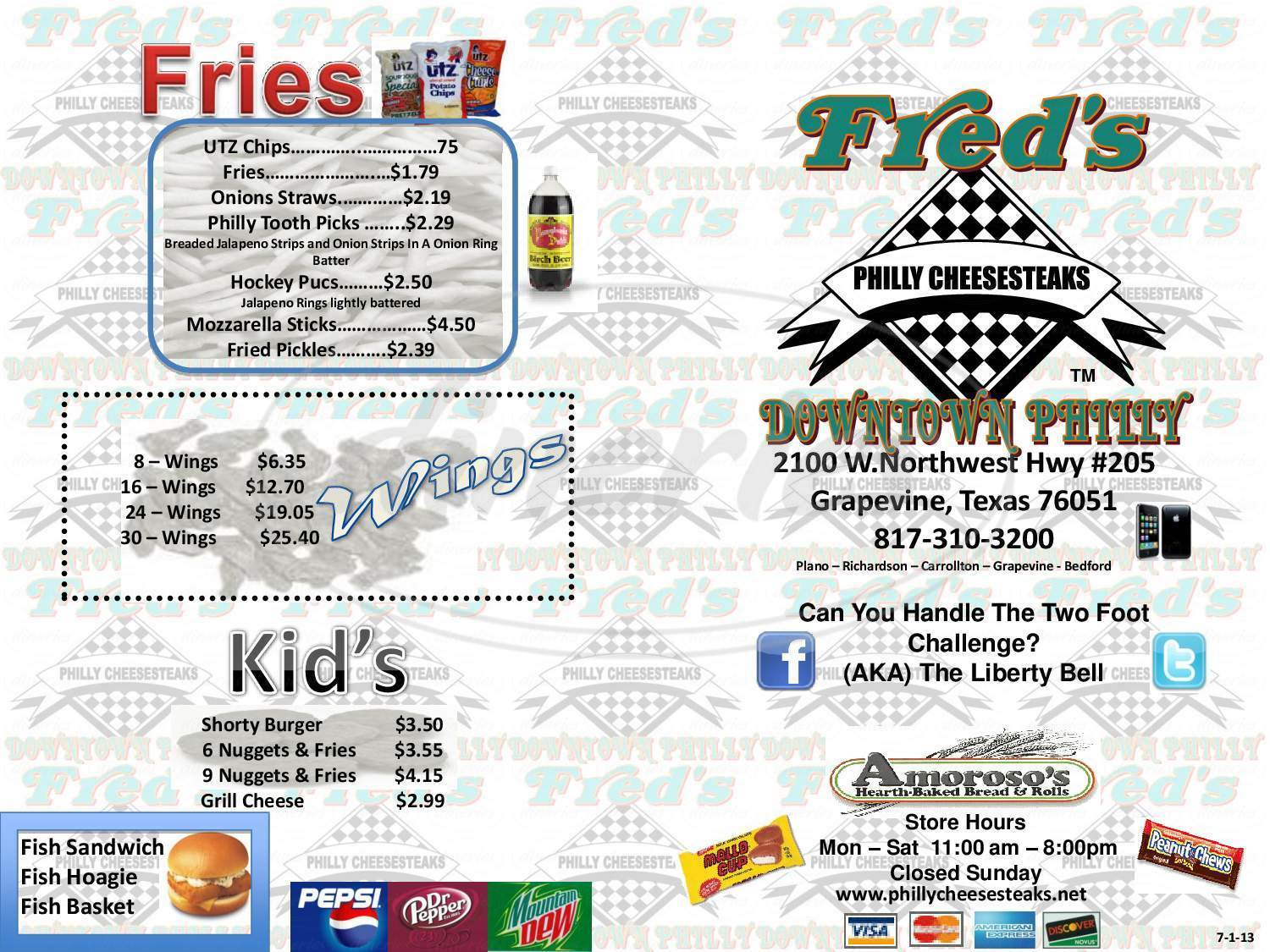 menu for Fred's Downtown Philly