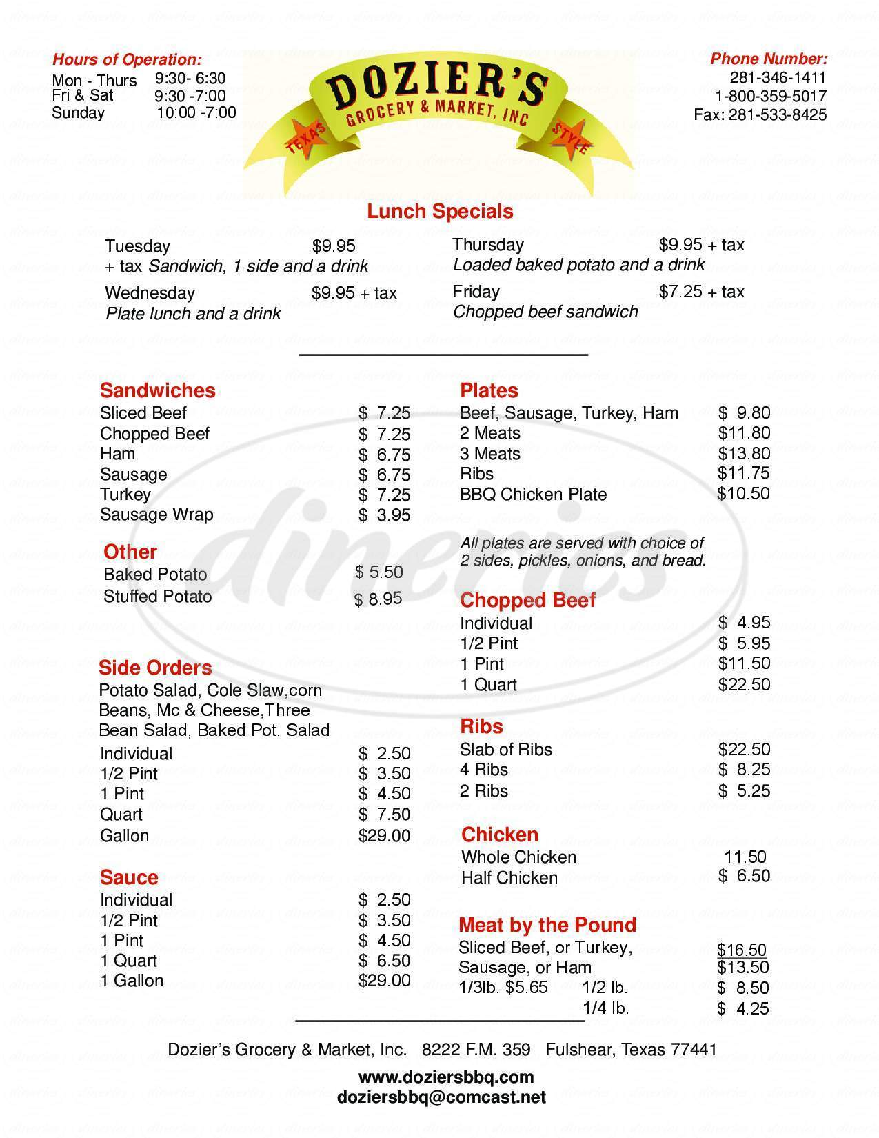 menu for Dozier's Grocery & Market