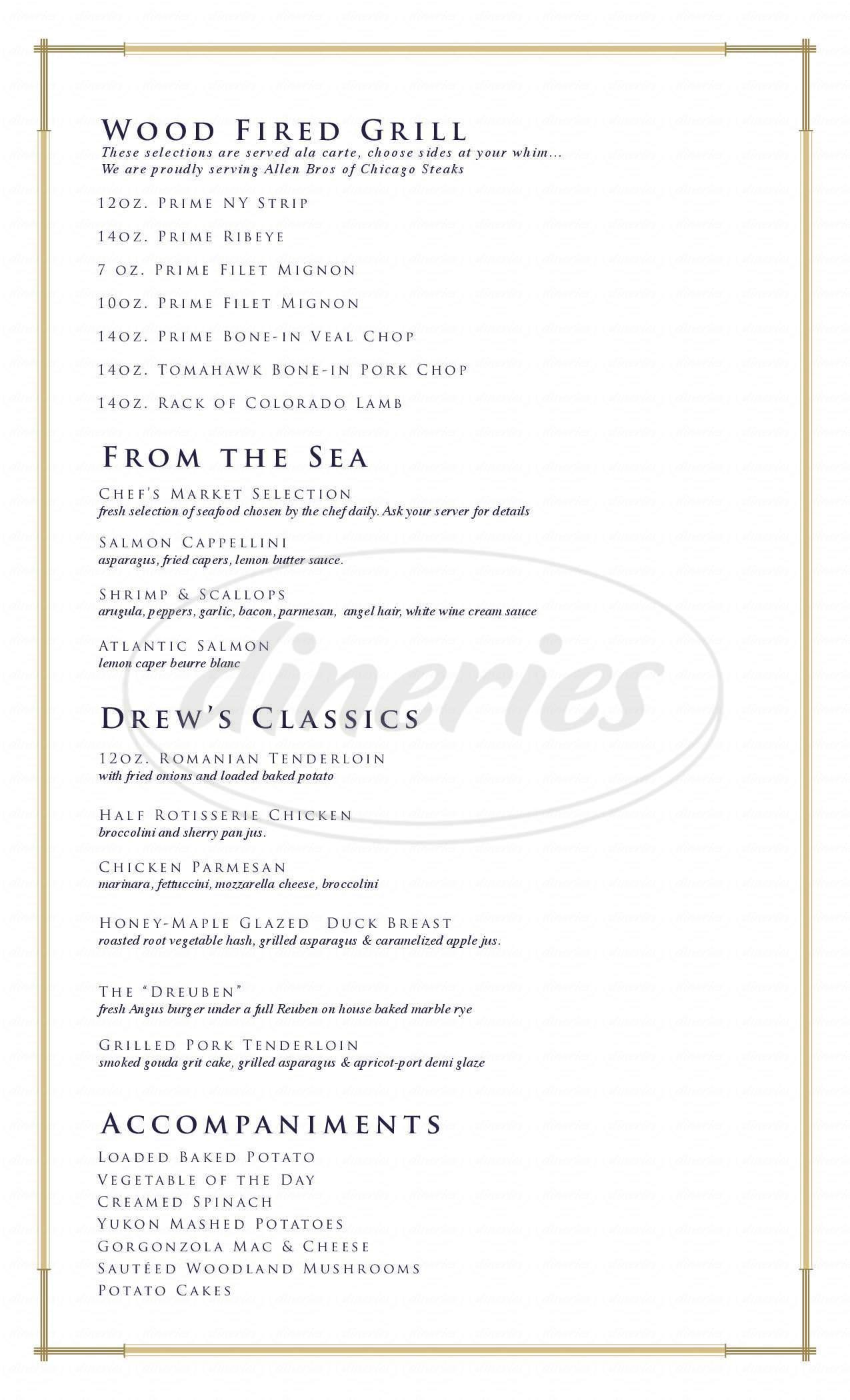menu for Drew's American Grill