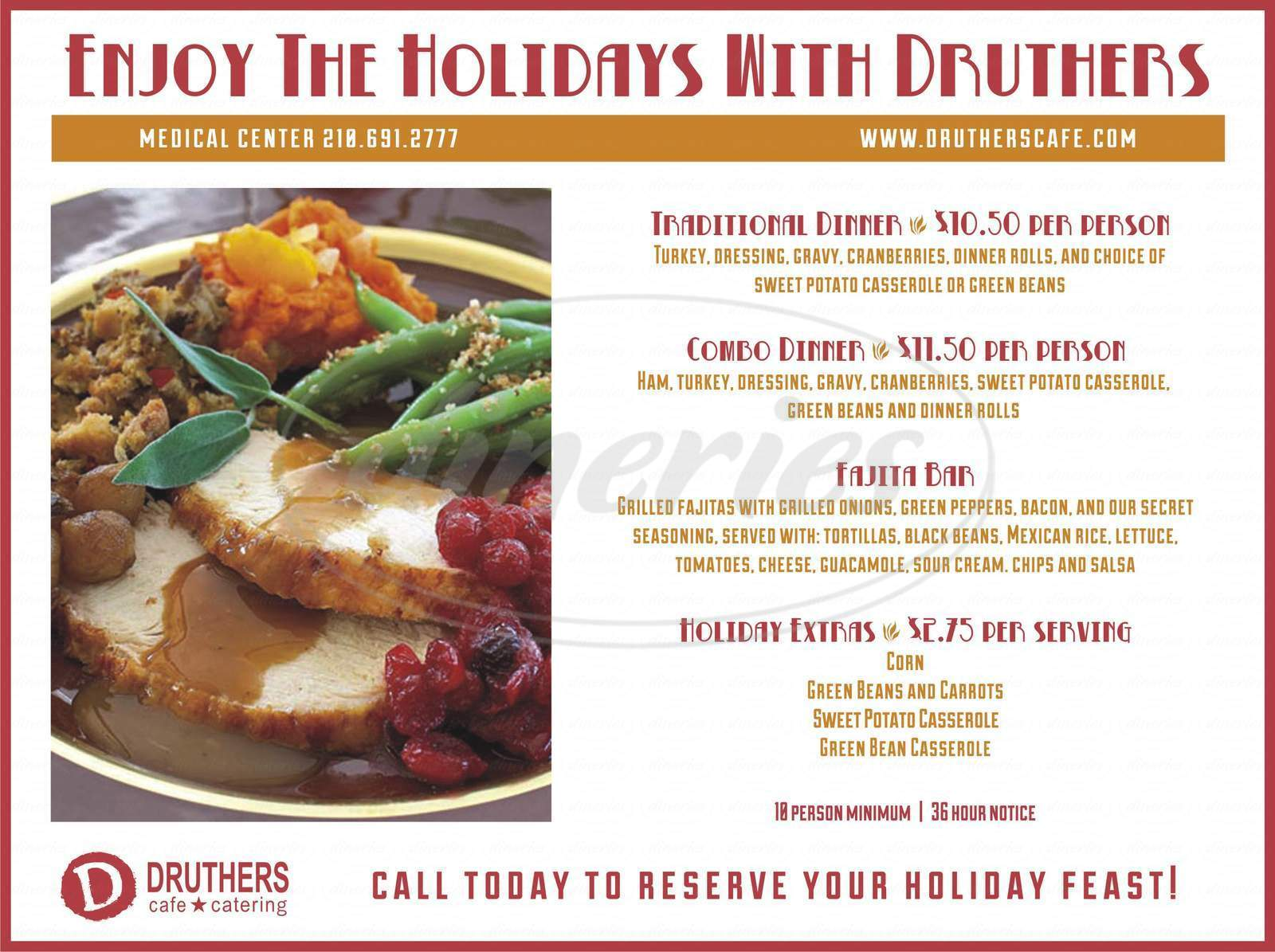 menu for Druthers Cafe and Catering