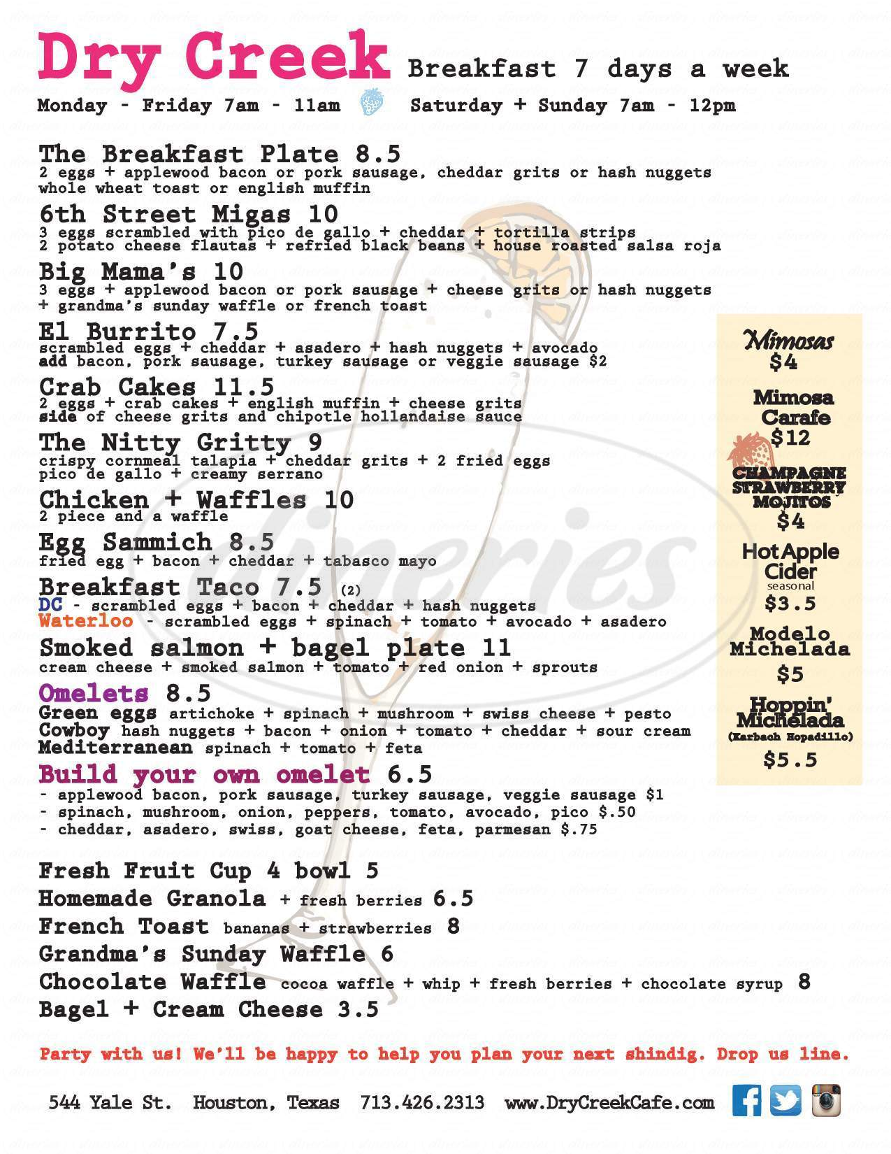 menu for Dry Creek Café