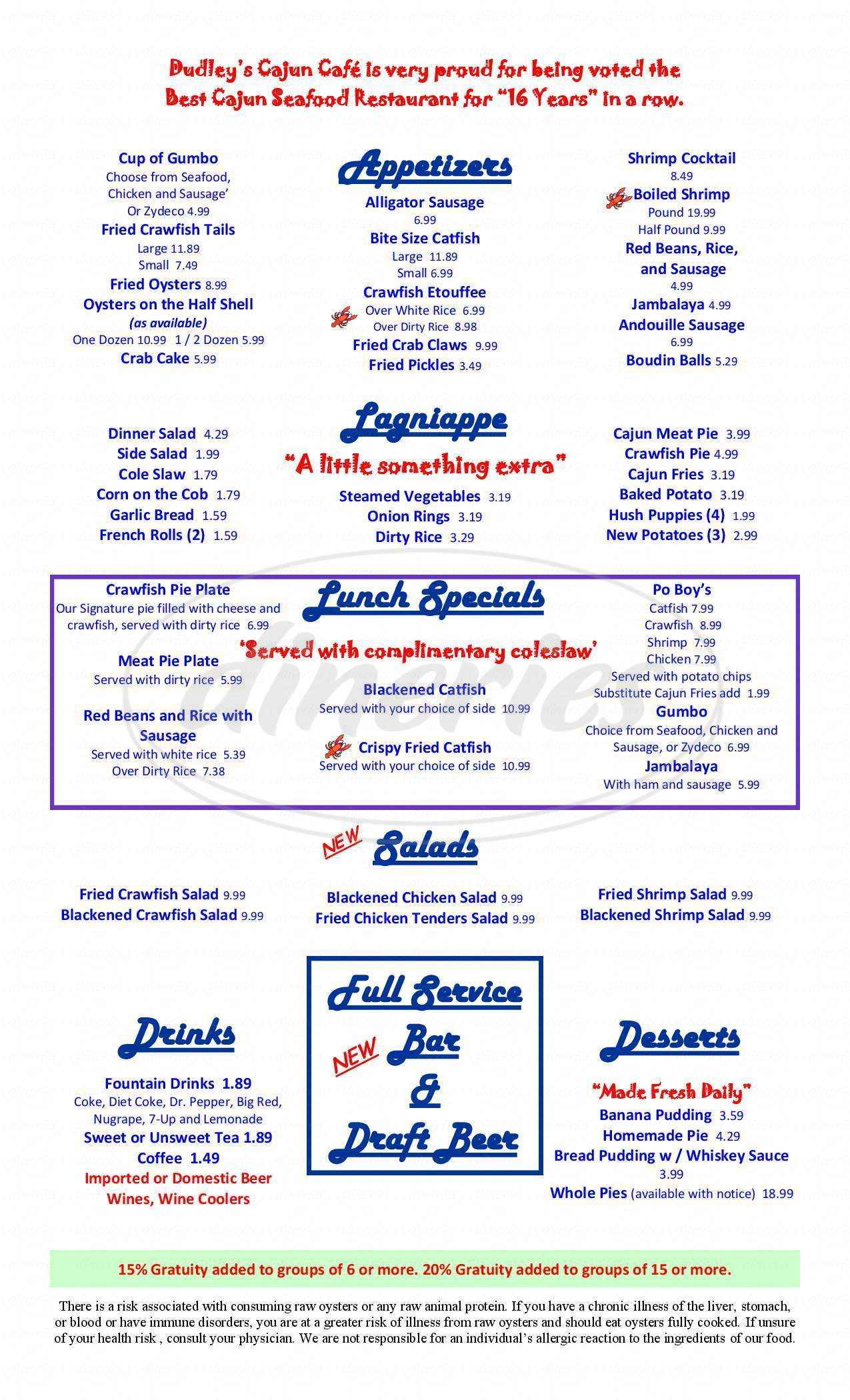 menu for Dudley's Cajun Cafe