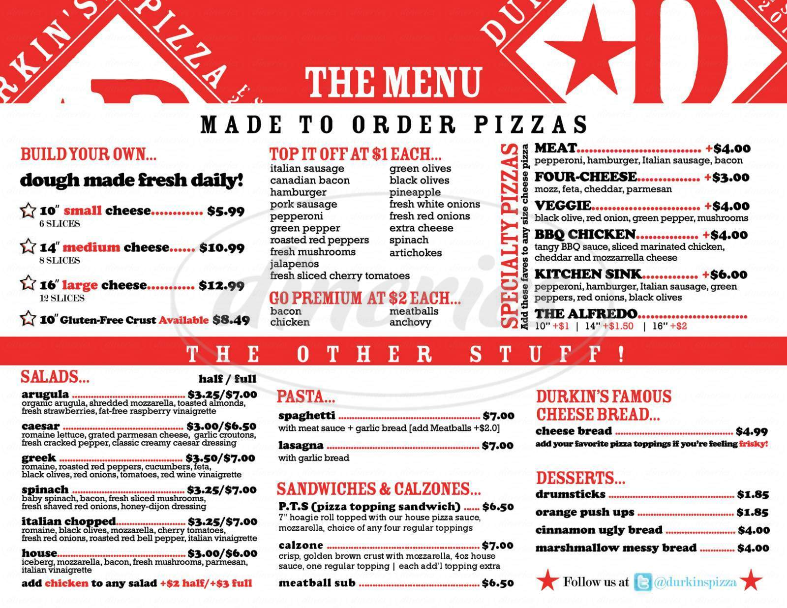 menu for Durkin's Pizza