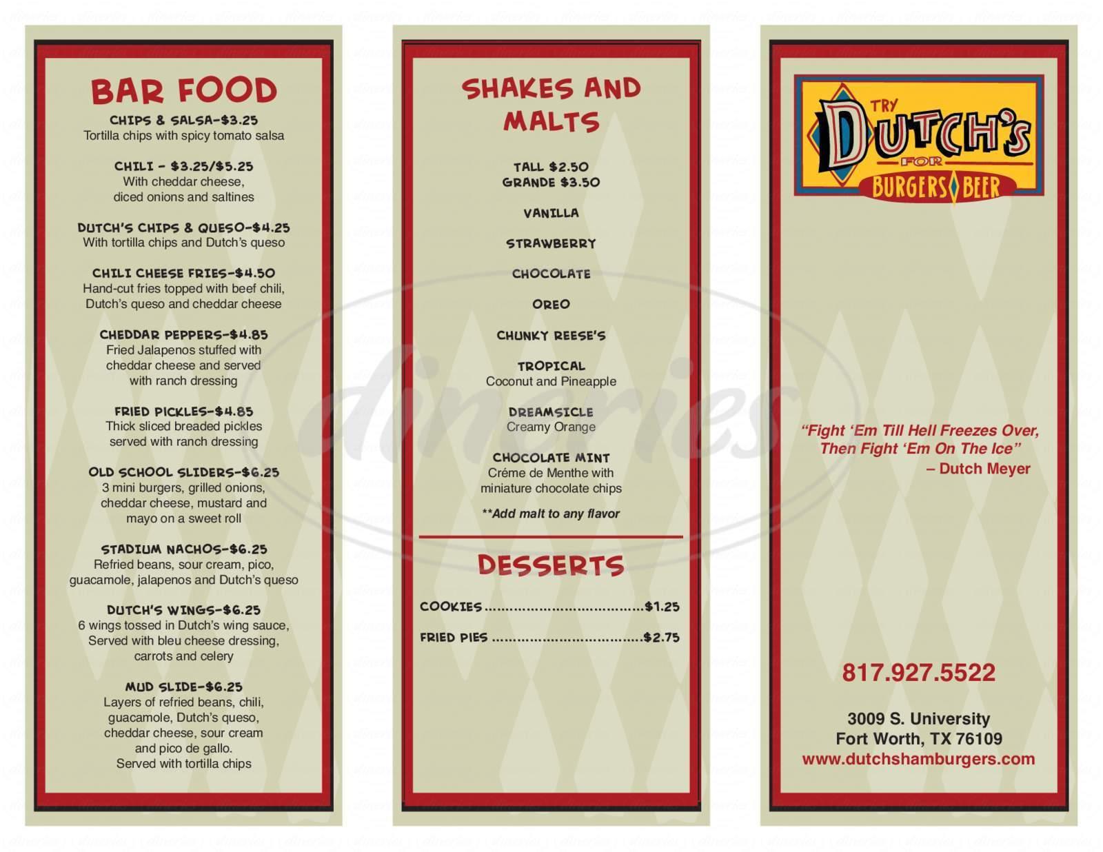 menu for Dutch's Hamburgers