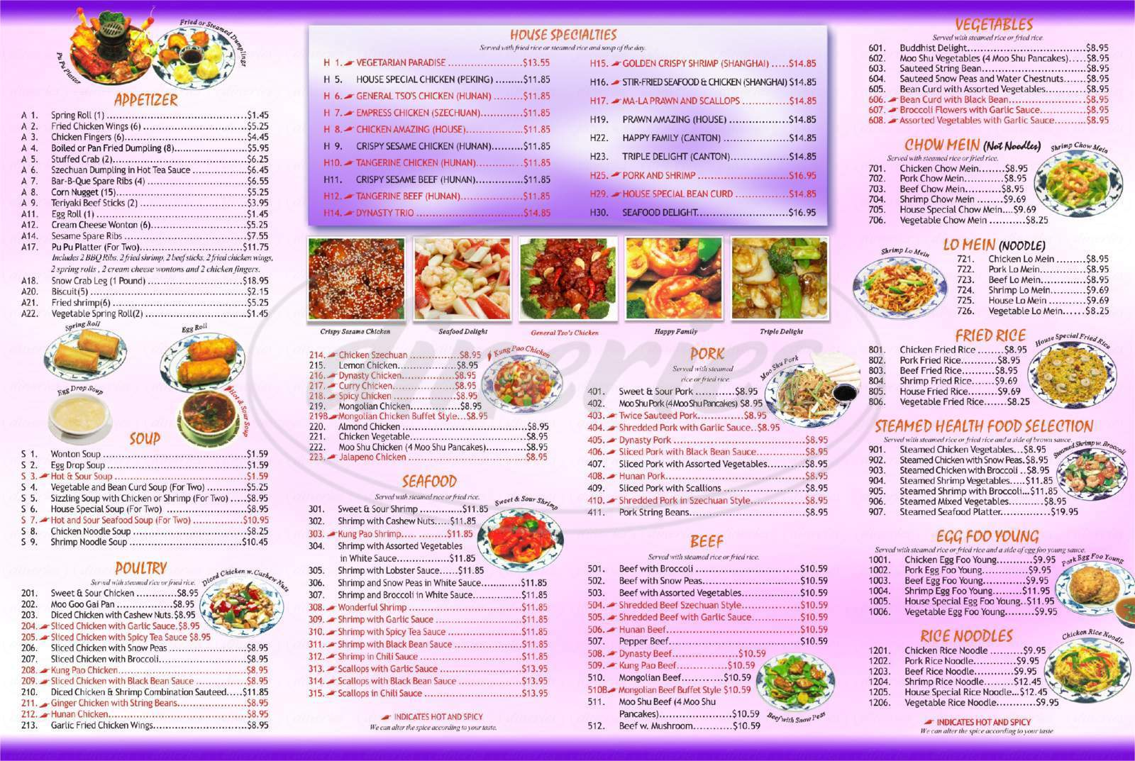 menu for Dynasty Chinese Restaurant